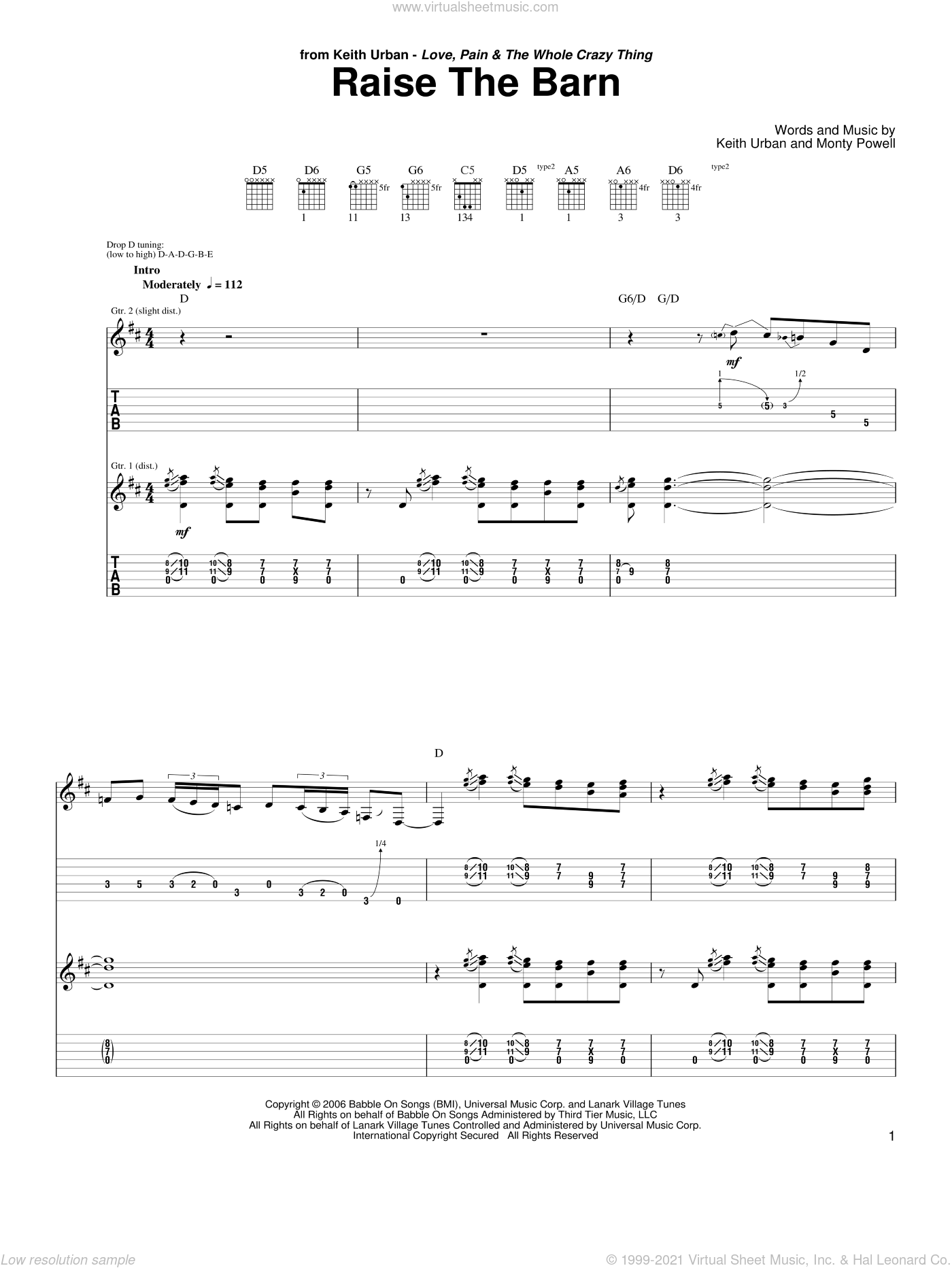 Raise The Barn sheet music for guitar (tablature) by Keith Urban featuring Ronnie Dunn, Ronnie Dunn, Keith Urban and Monty Powell, intermediate guitar (tablature). Score Image Preview.