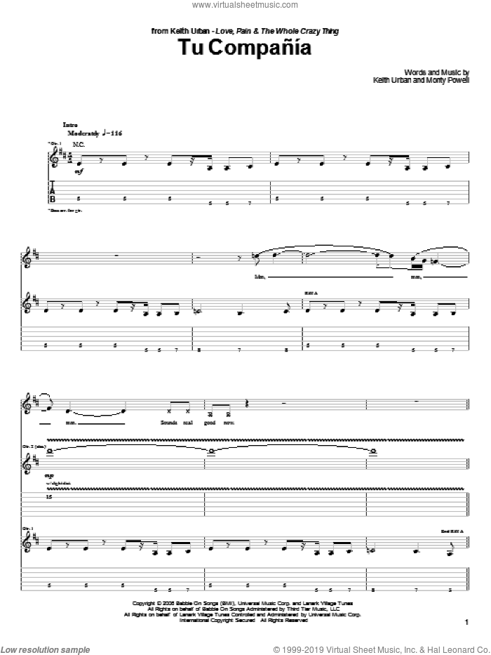 Tu Compania sheet music for guitar (tablature) by Keith Urban and Monty Powell. Score Image Preview.