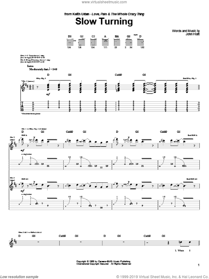 Slow Turning sheet music for guitar (tablature) by Keith Urban and John Hiatt, intermediate. Score Image Preview.