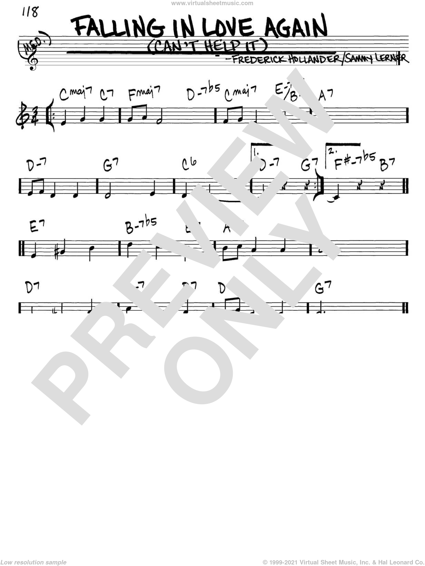 Falling In Love Again (Can't Help It) sheet music for voice and other instruments (in C) by Marlene Dietrich, Frederick Hollander and Sammy Lerner, intermediate. Score Image Preview.