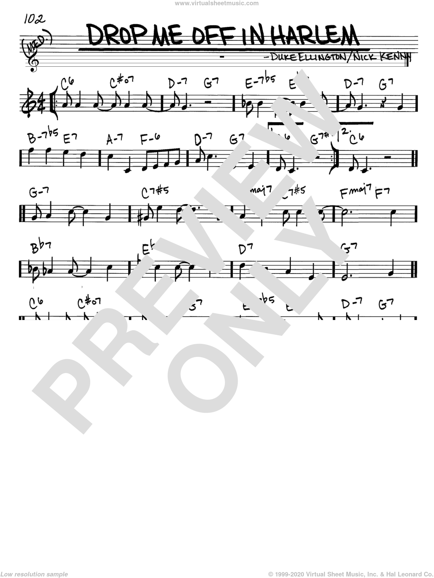 Drop Me Off In Harlem sheet music for voice and other instruments (C) by Nick Kenny and Duke Ellington. Score Image Preview.