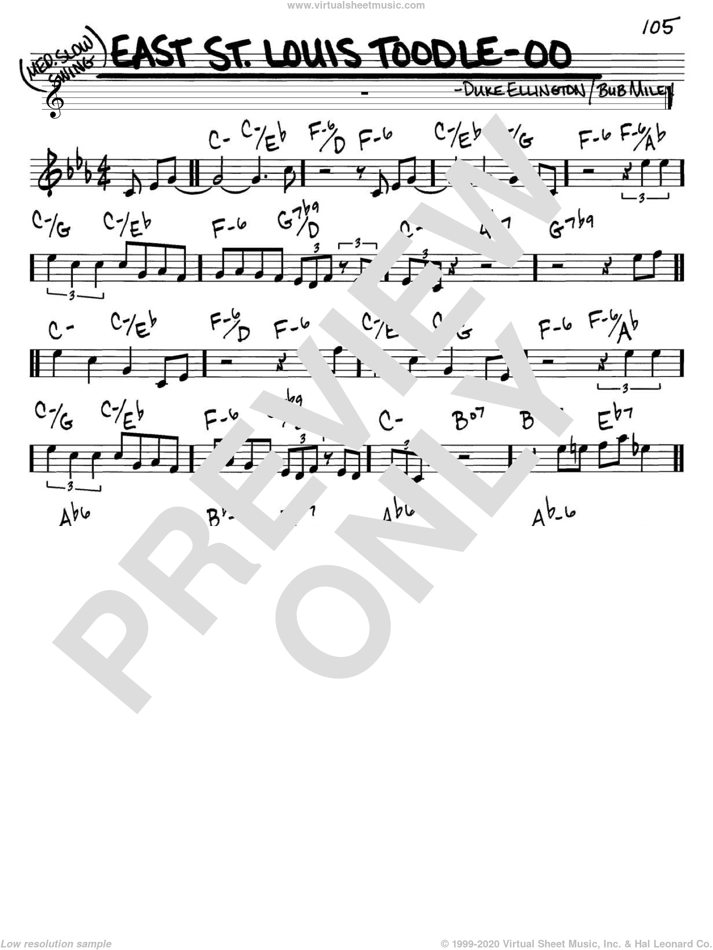 East St. Louis Toodle-oo sheet music for voice and other instruments (C) by Duke Ellington and Bubber Miley, intermediate voice. Score Image Preview.
