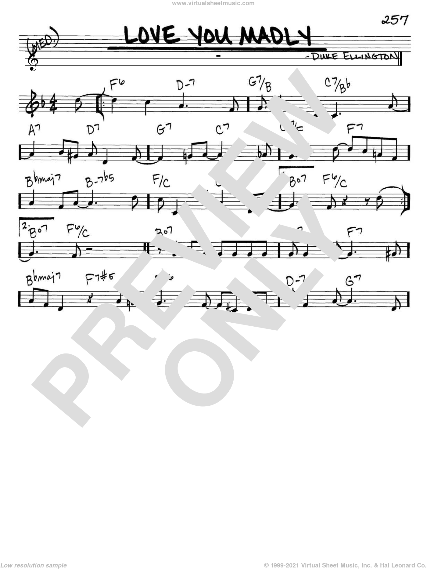 Love You Madly sheet music for voice and other instruments (C) by Duke Ellington. Score Image Preview.