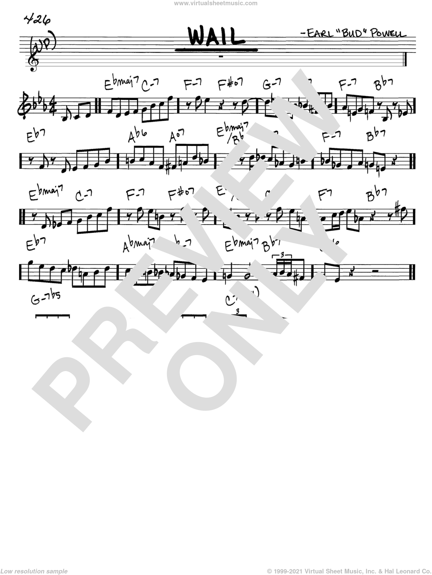 Wail sheet music for voice and other instruments (in C) by Bud Powell, intermediate skill level