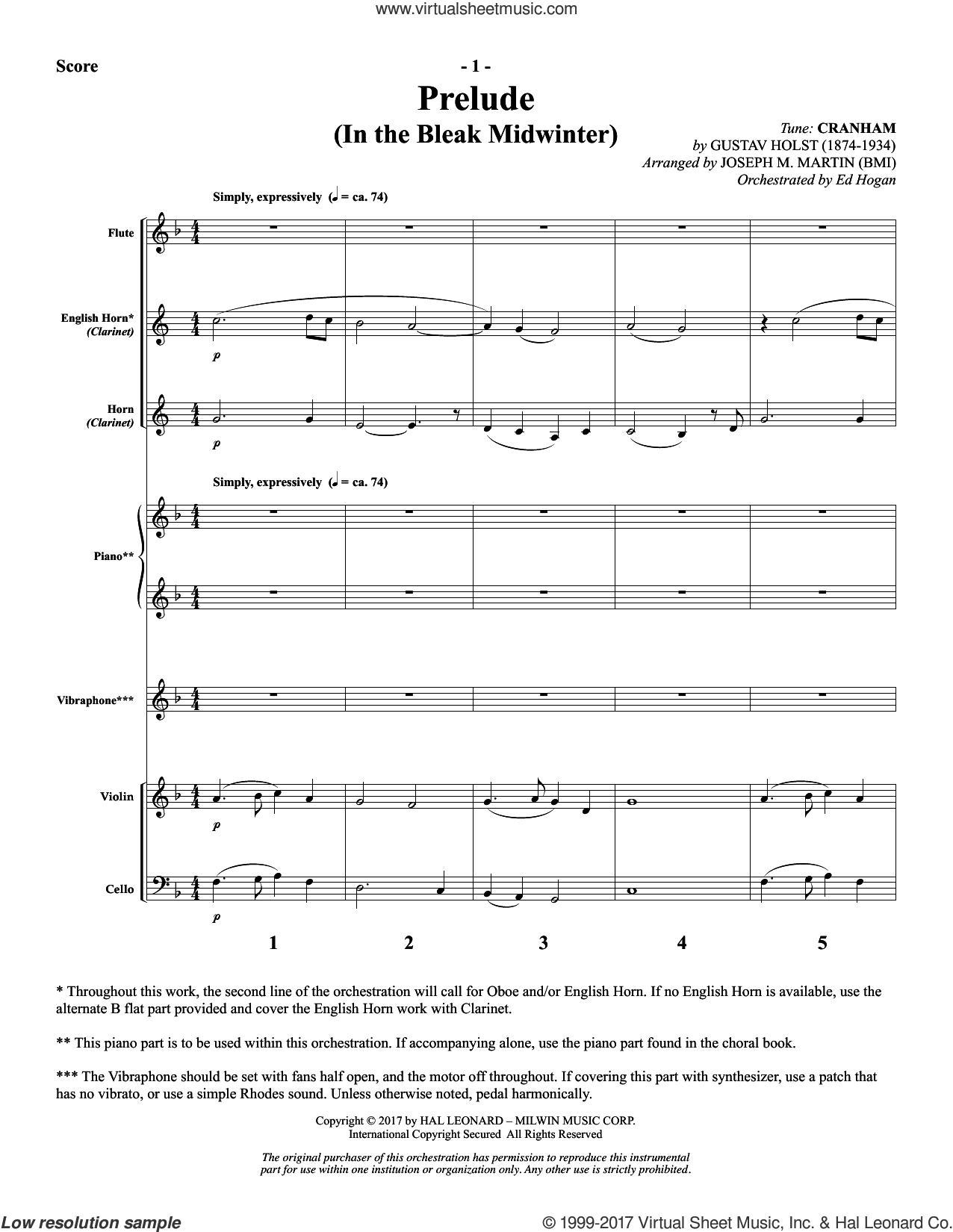 The Longest Night, complete set of parts (COMPLETE) sheet music for orchestra by Joseph M. Martin. Score Image Preview.