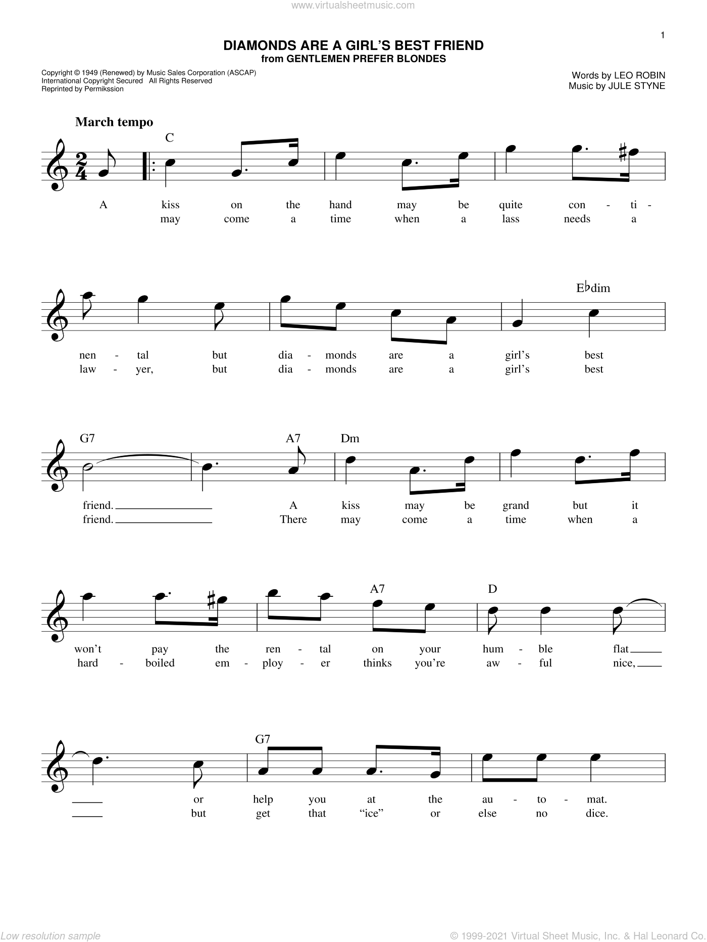 Diamonds Are A Girl's Best Friend sheet music for voice and other instruments (fake book) by Jule Styne and Leo Robin, intermediate skill level