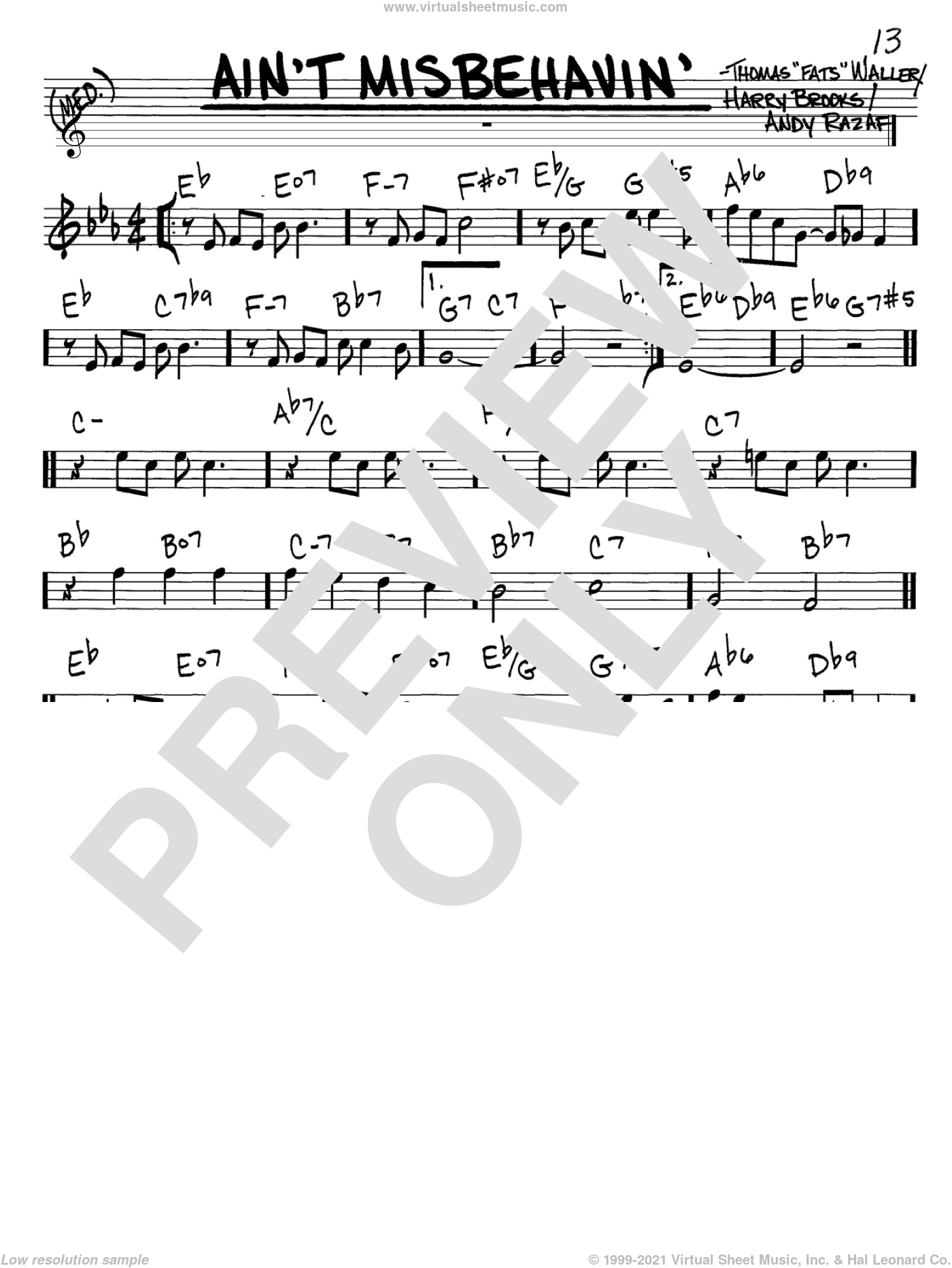 Ain't Misbehavin' sheet music for voice and other instruments (C) by Fats Waller, Thomas Waller, Andy Razaf and Harry Brooks. Score Image Preview.