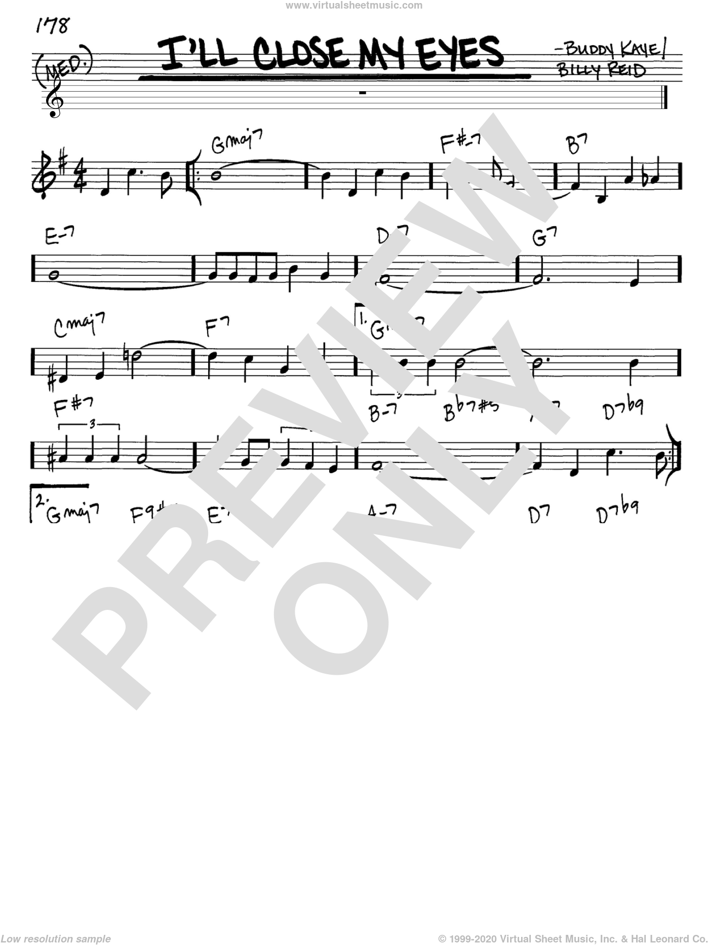 I'll Close My Eyes sheet music for voice and other instruments (C) by Billy Reid