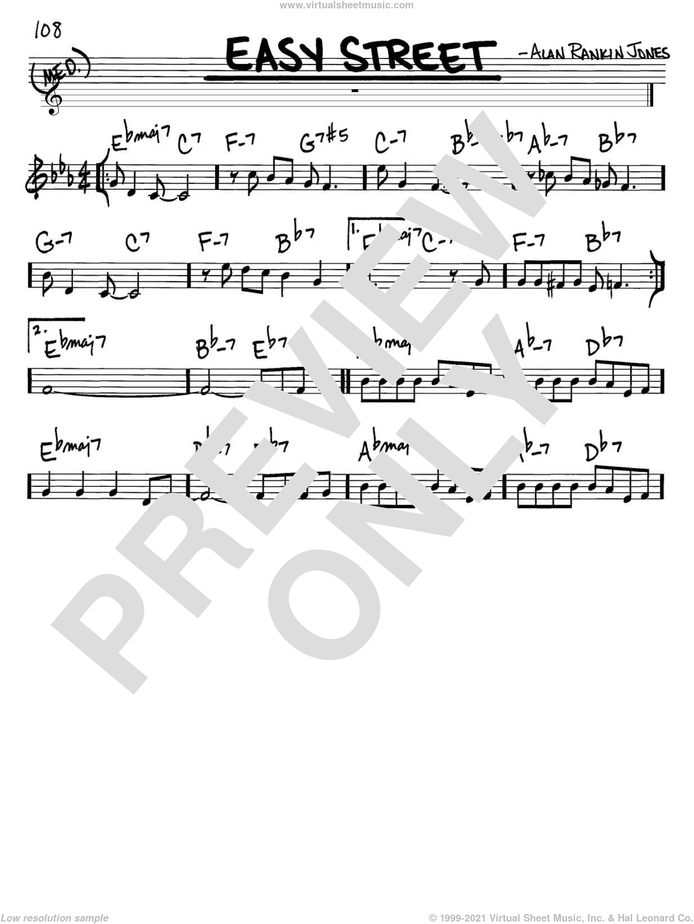 Easy Street sheet music for voice and other instruments (C) by Alan Rankin Jones. Score Image Preview.