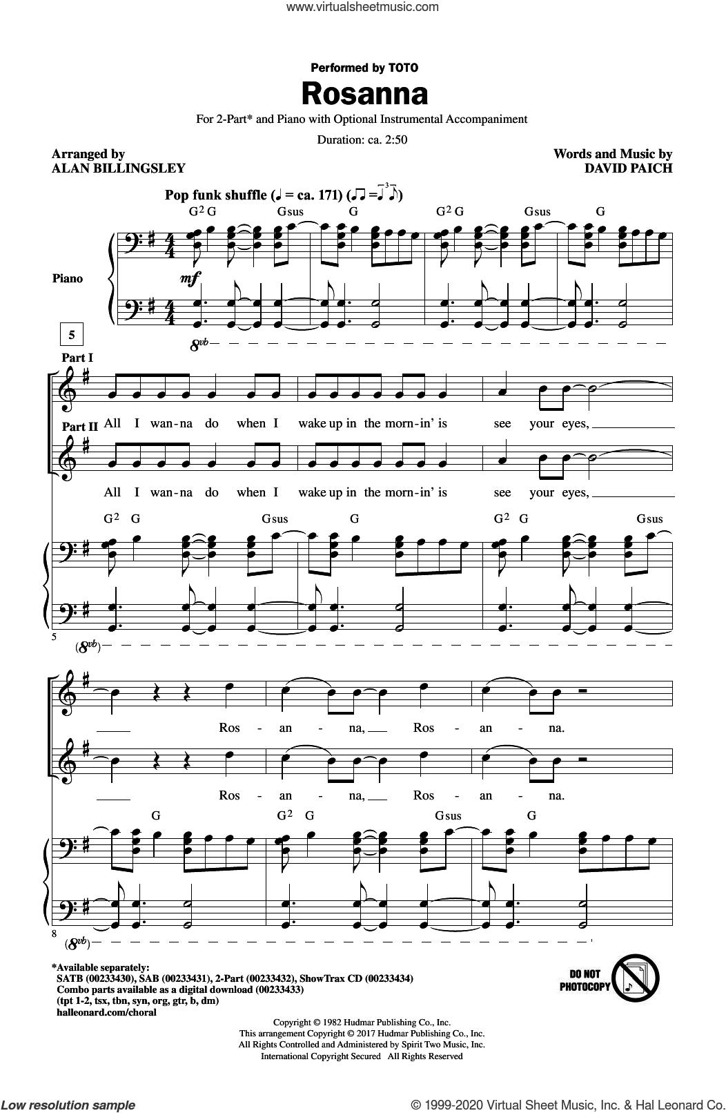 Rosanna (arr. Alan Billingsley) sheet music for choir (2-Part) by Alan Billingsley, Toto and David Paich, intermediate duet