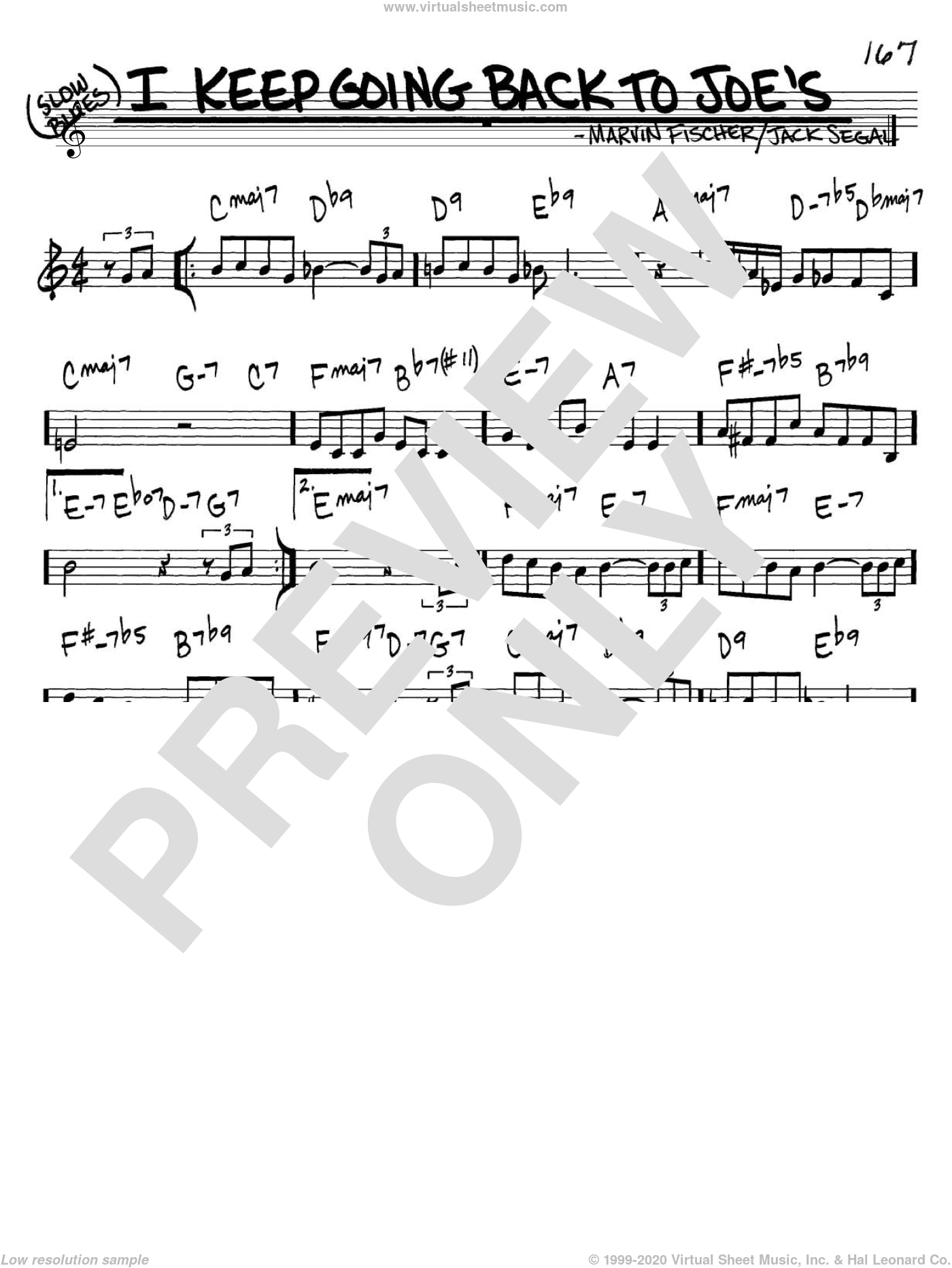 I Keep Going Back To Joe's sheet music for voice and other instruments (in C) by Marvin Fisher and Jack Segal, intermediate. Score Image Preview.
