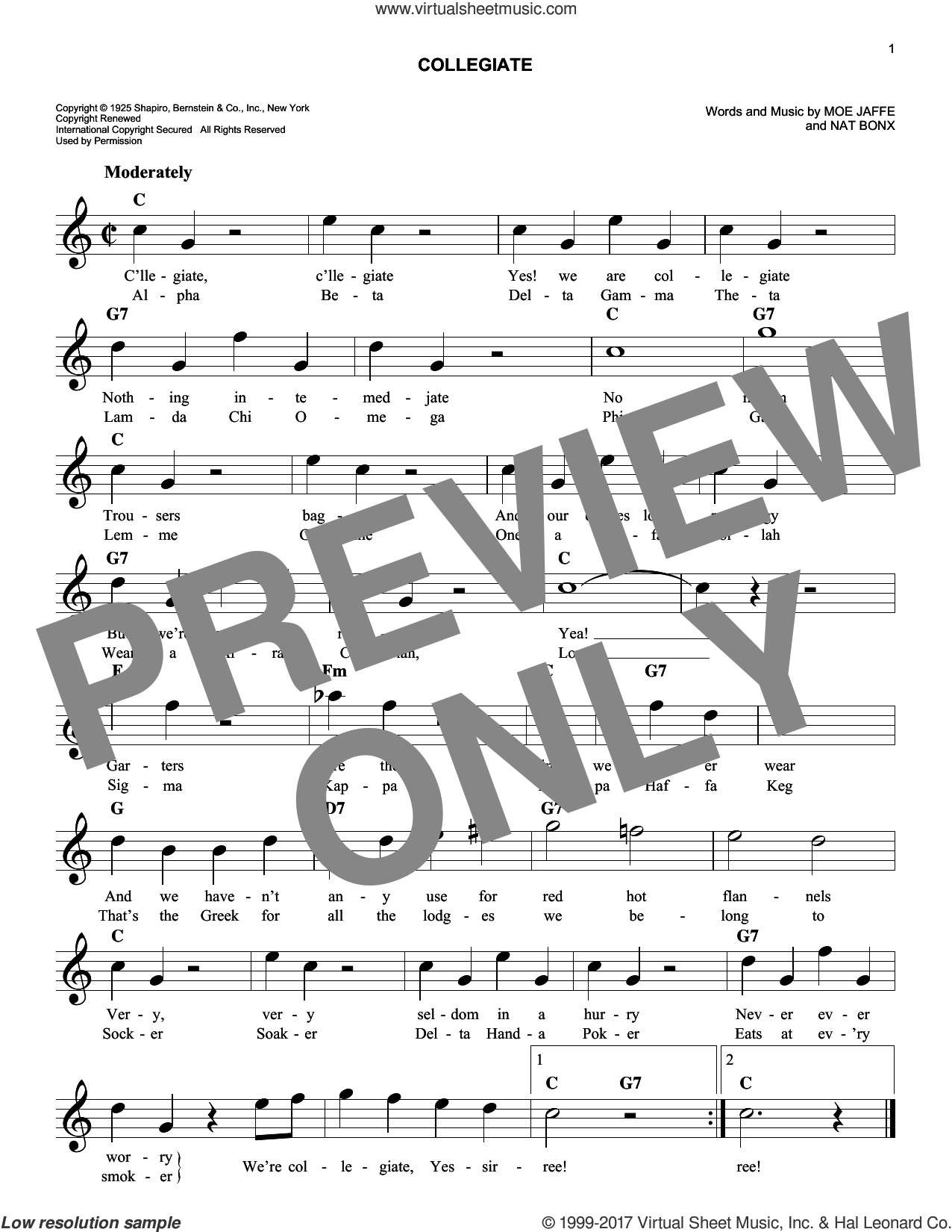 Collegiate sheet music for voice and other instruments (fake book) by Fred Waring's Pennsylvanians, Moe Jaffe and Nat Bonx, intermediate skill level