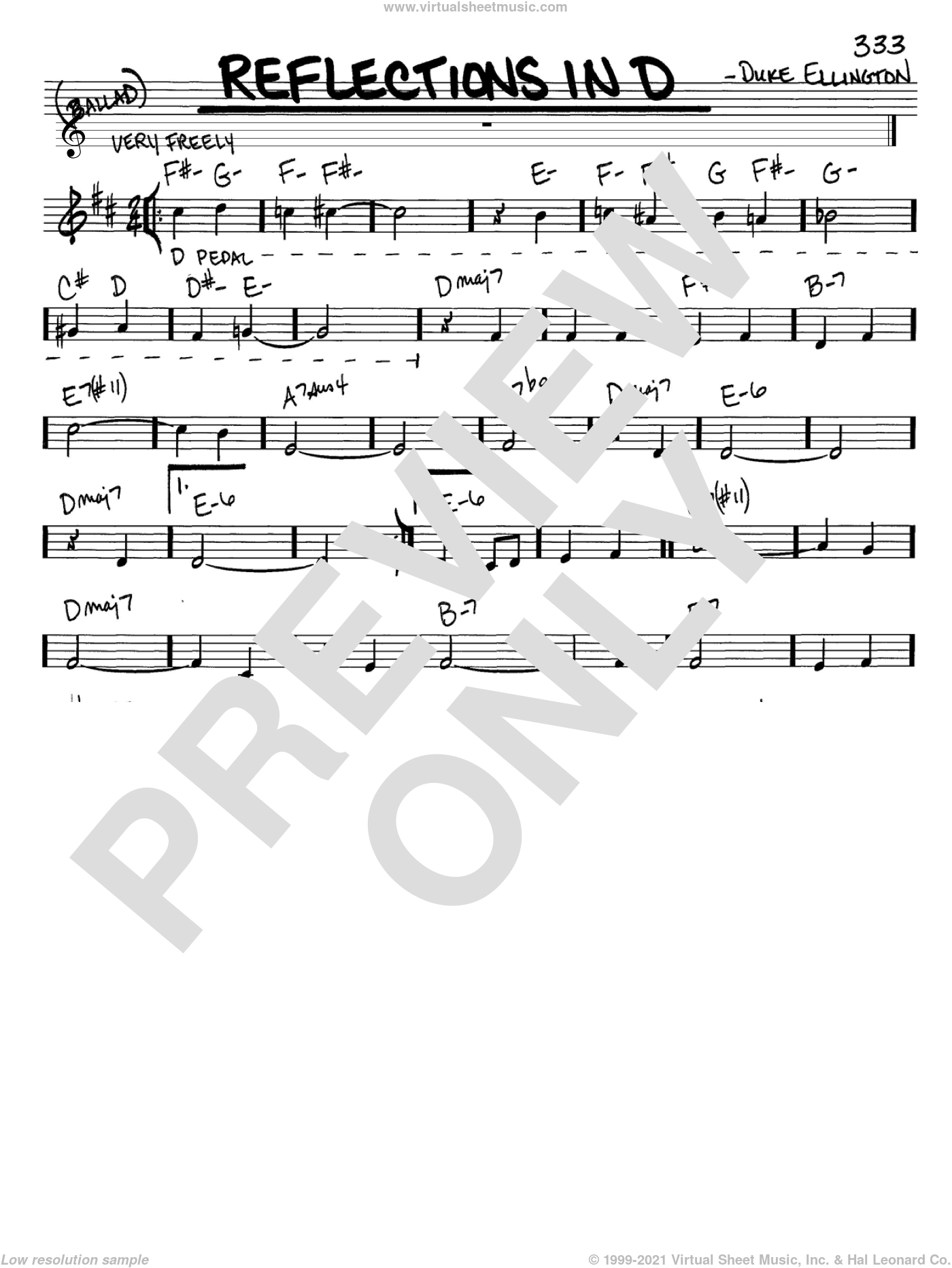 Reflections In D sheet music for voice and other instruments (C) by Duke Ellington. Score Image Preview.