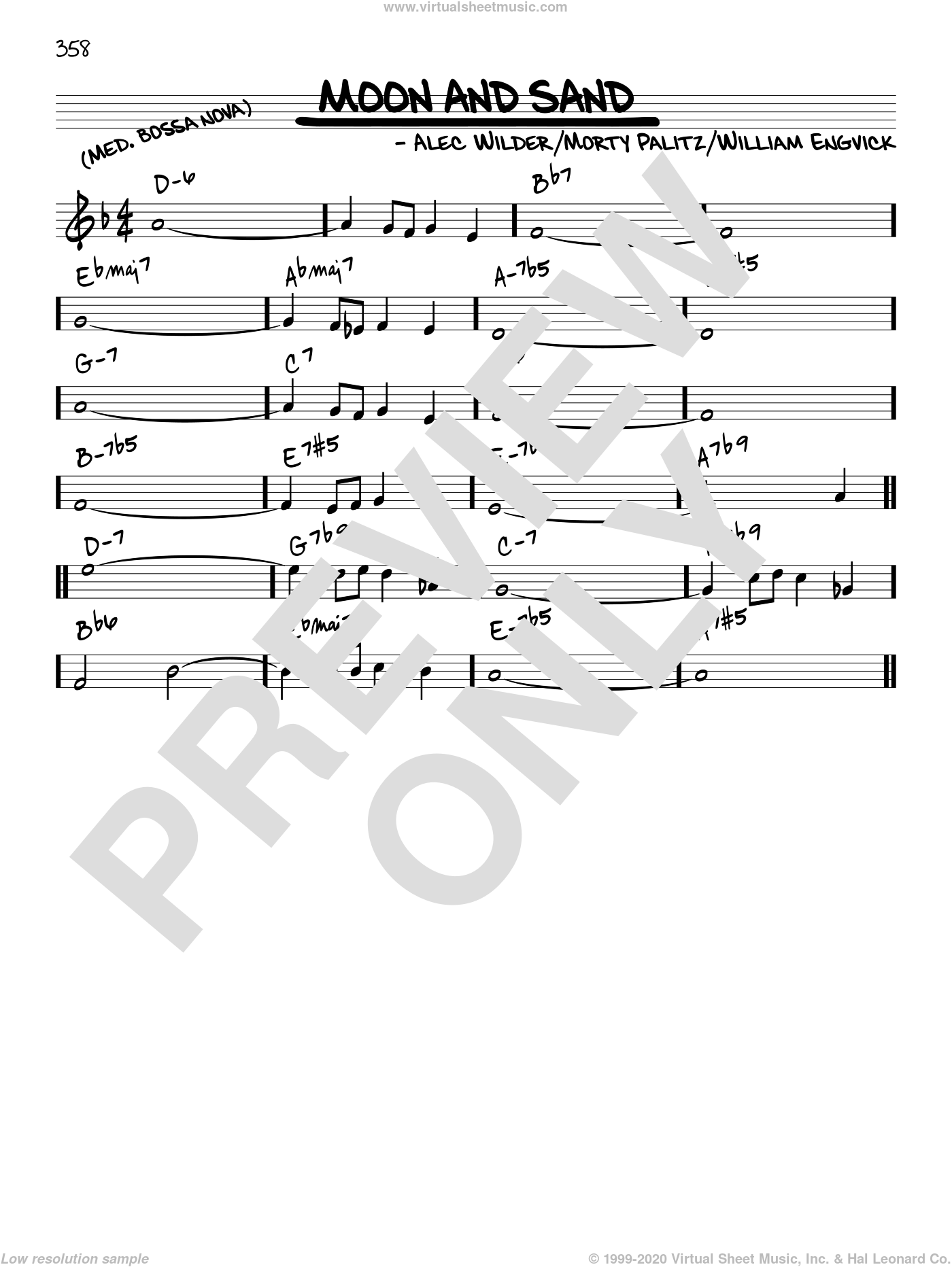 Moon And Sand sheet music for voice and other instruments (C) by William Engvick and Alec Wilder. Score Image Preview.