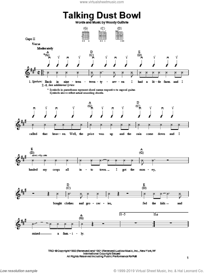 Talking Dust Bowl sheet music for guitar solo (chords) by Woody Guthrie. Score Image Preview.
