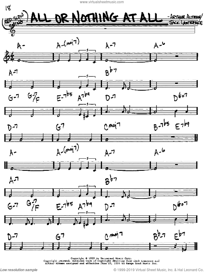 All Or Nothing At All sheet music for voice and other instruments (in C) by Frank Sinatra, Arthur Altman and Jack Lawrence, intermediate skill level
