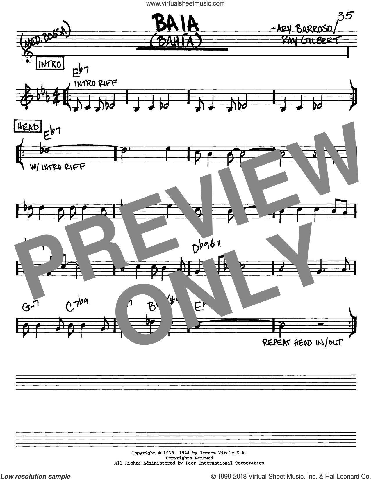 Baia (Bahia) sheet music for voice and other instruments (C) by Ray Gilbert and Ary Barroso. Score Image Preview.