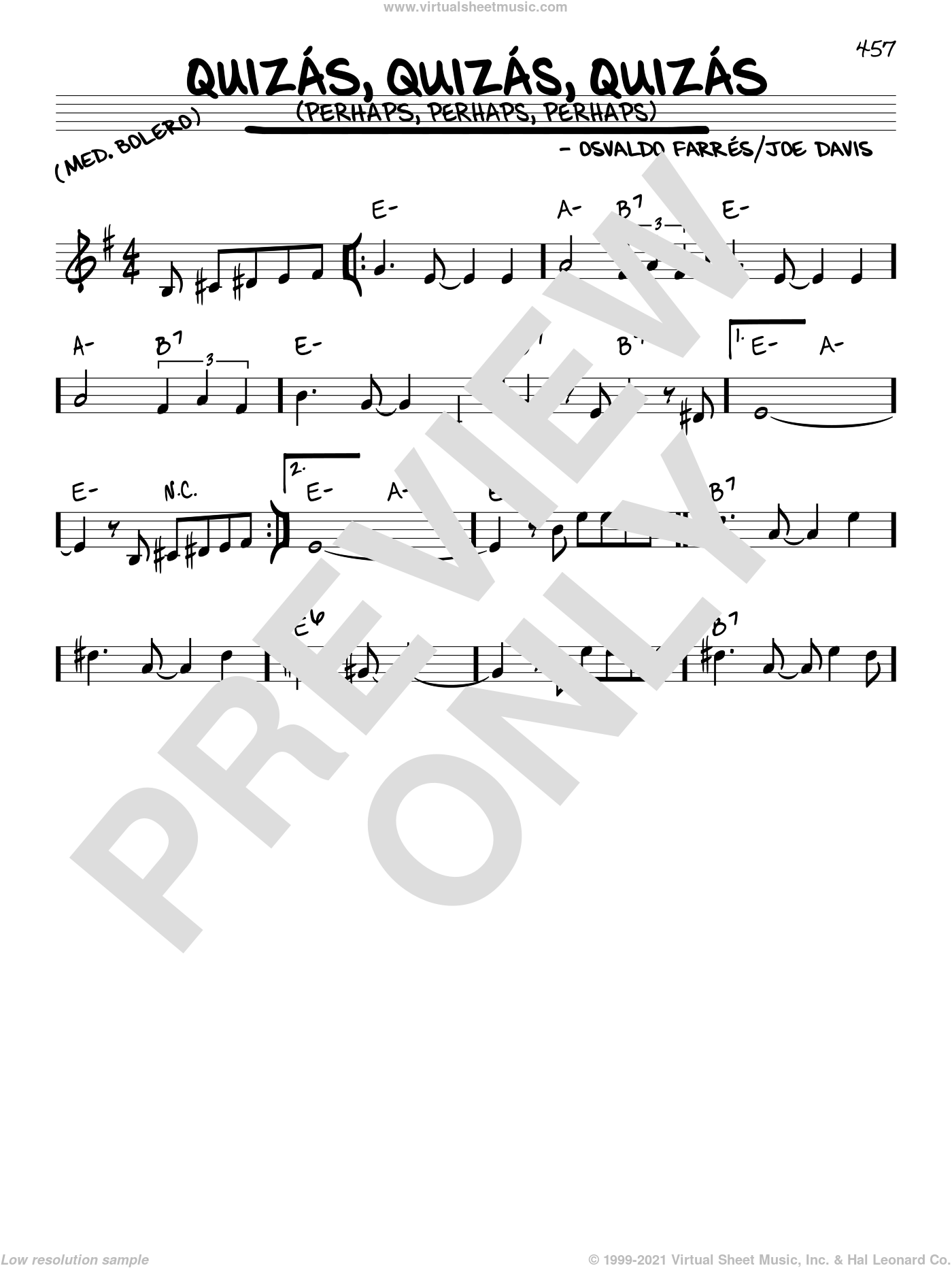 Quizas, Quizas, Quizas (Perhaps, Perhaps, Perhaps) sheet music for voice and other instruments (in C) by Osvaldo Farres and Joe Davis, intermediate. Score Image Preview.