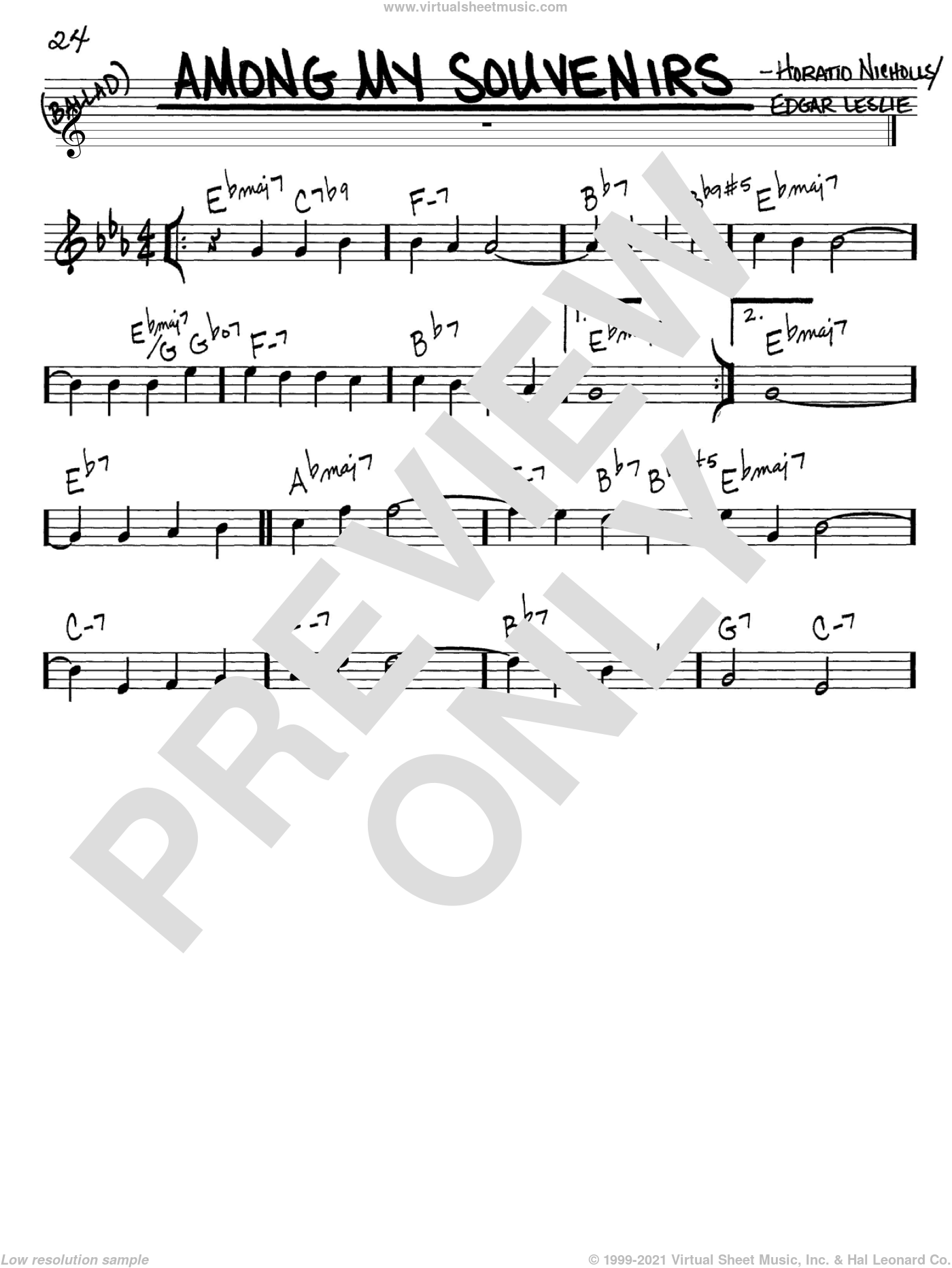 Among My Souvenirs sheet music for voice and other instruments (in C) by Connie Francis, Edgar Leslie and Horatio Nicholls, intermediate skill level