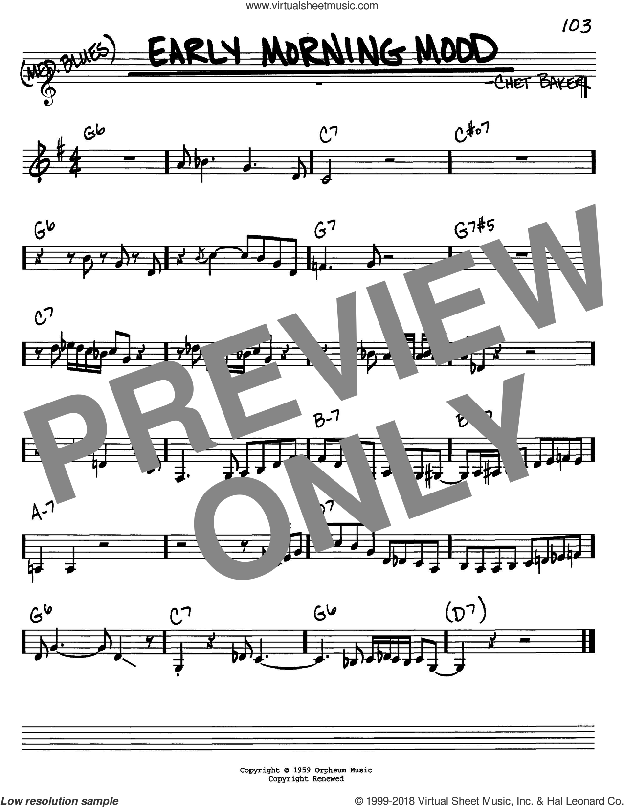 Early Morning Mood sheet music for voice and other instruments (in C) by Chet Baker, intermediate skill level