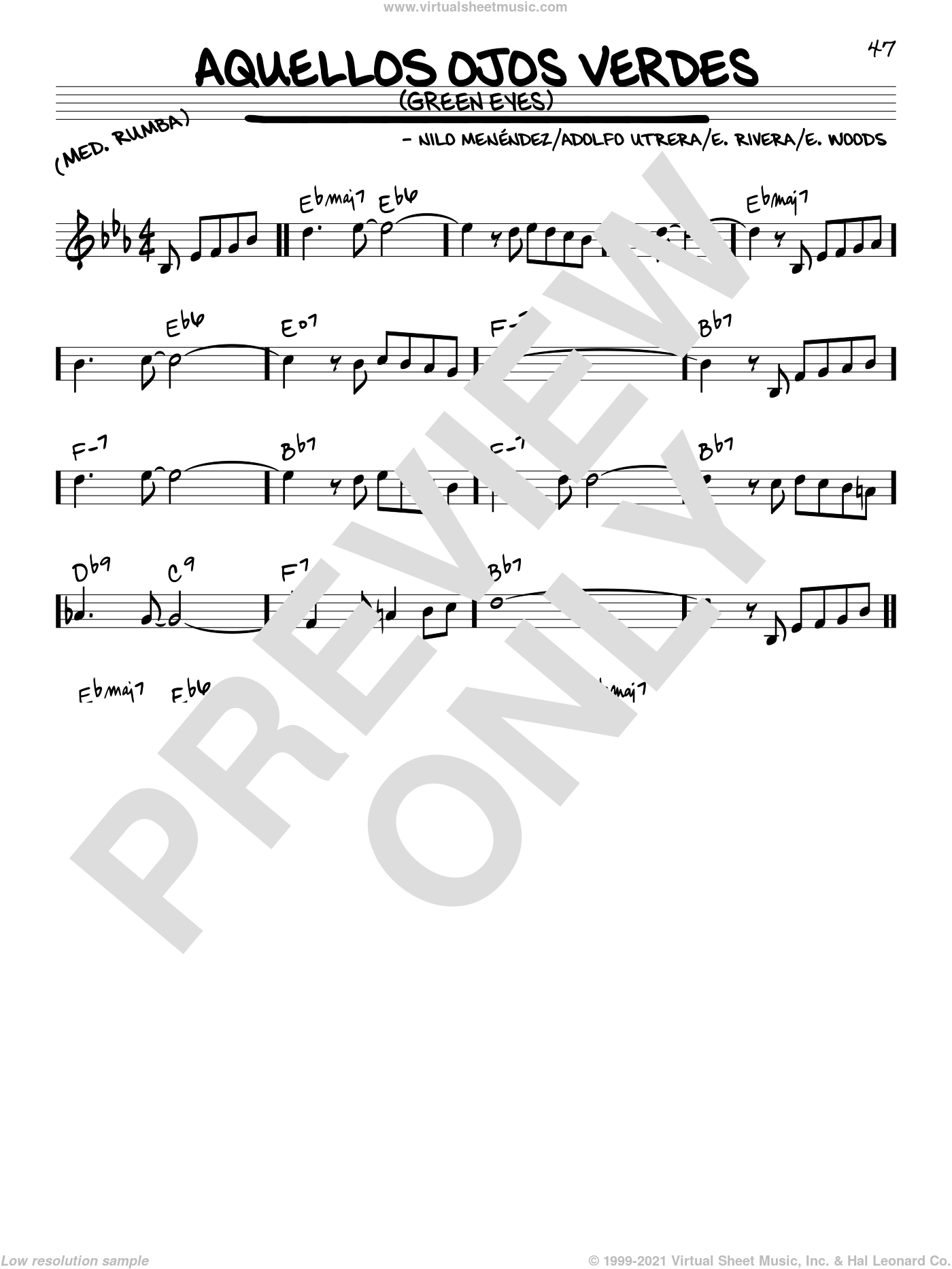 Aquellos Ojos Verdes (Green Eyes) sheet music for voice and other instruments (C) by E. Woods and Nilo Menendez. Score Image Preview.