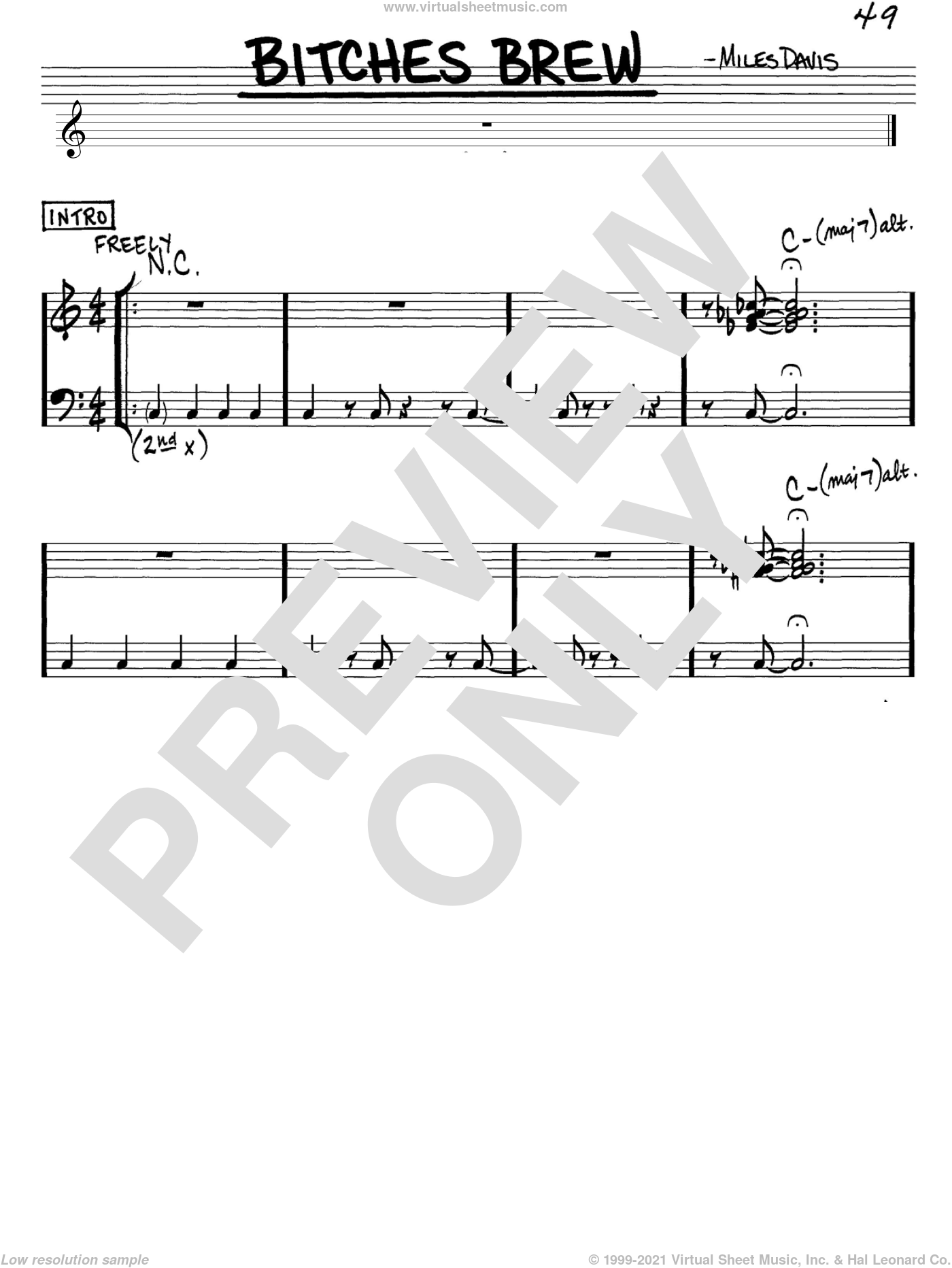 Bitches Brew sheet music for voice and other instruments (in C) by Miles Davis, intermediate. Score Image Preview.