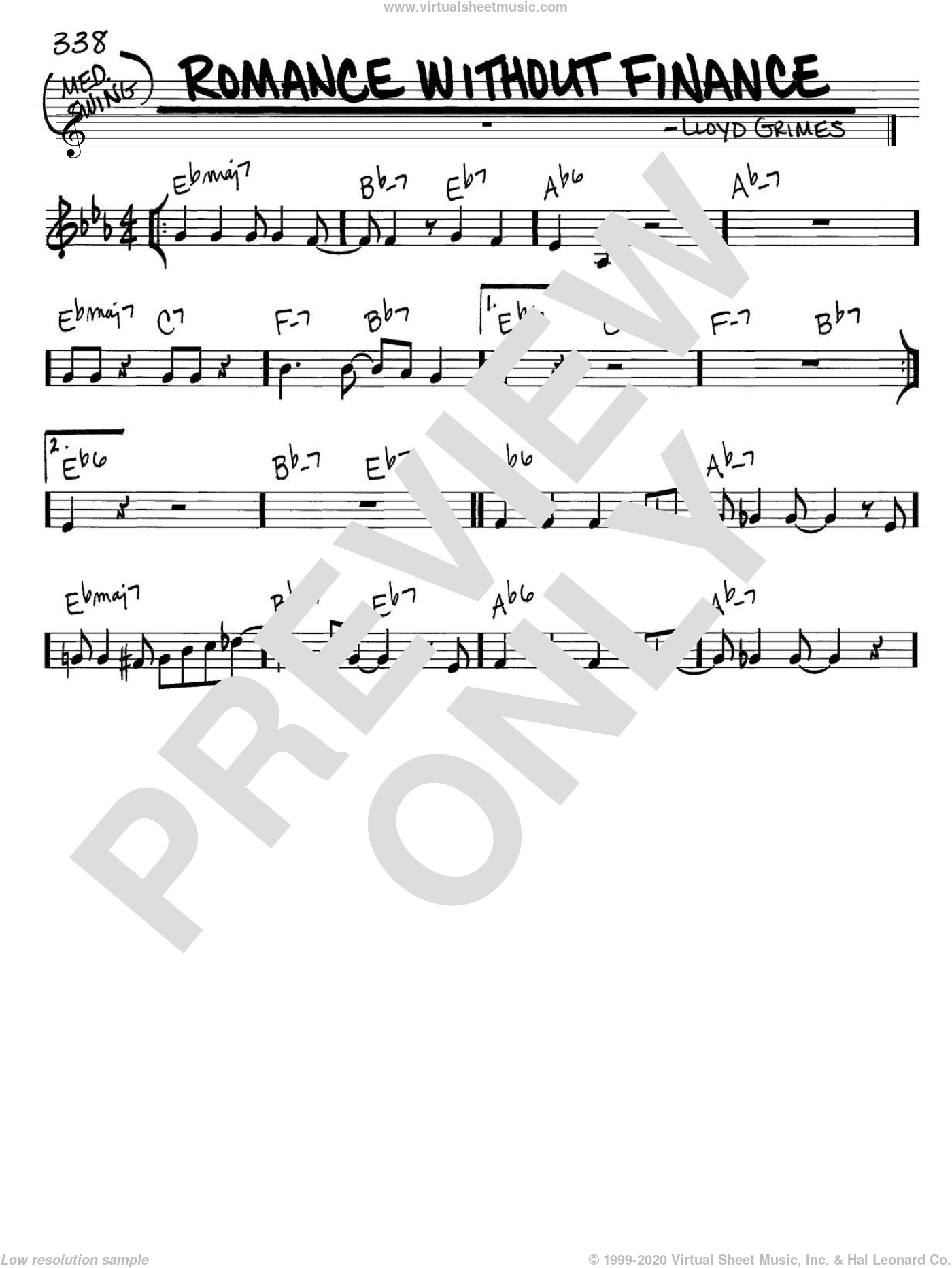 Romance Without Finance sheet music for voice and other instruments (C) by Lloyd Grimes. Score Image Preview.