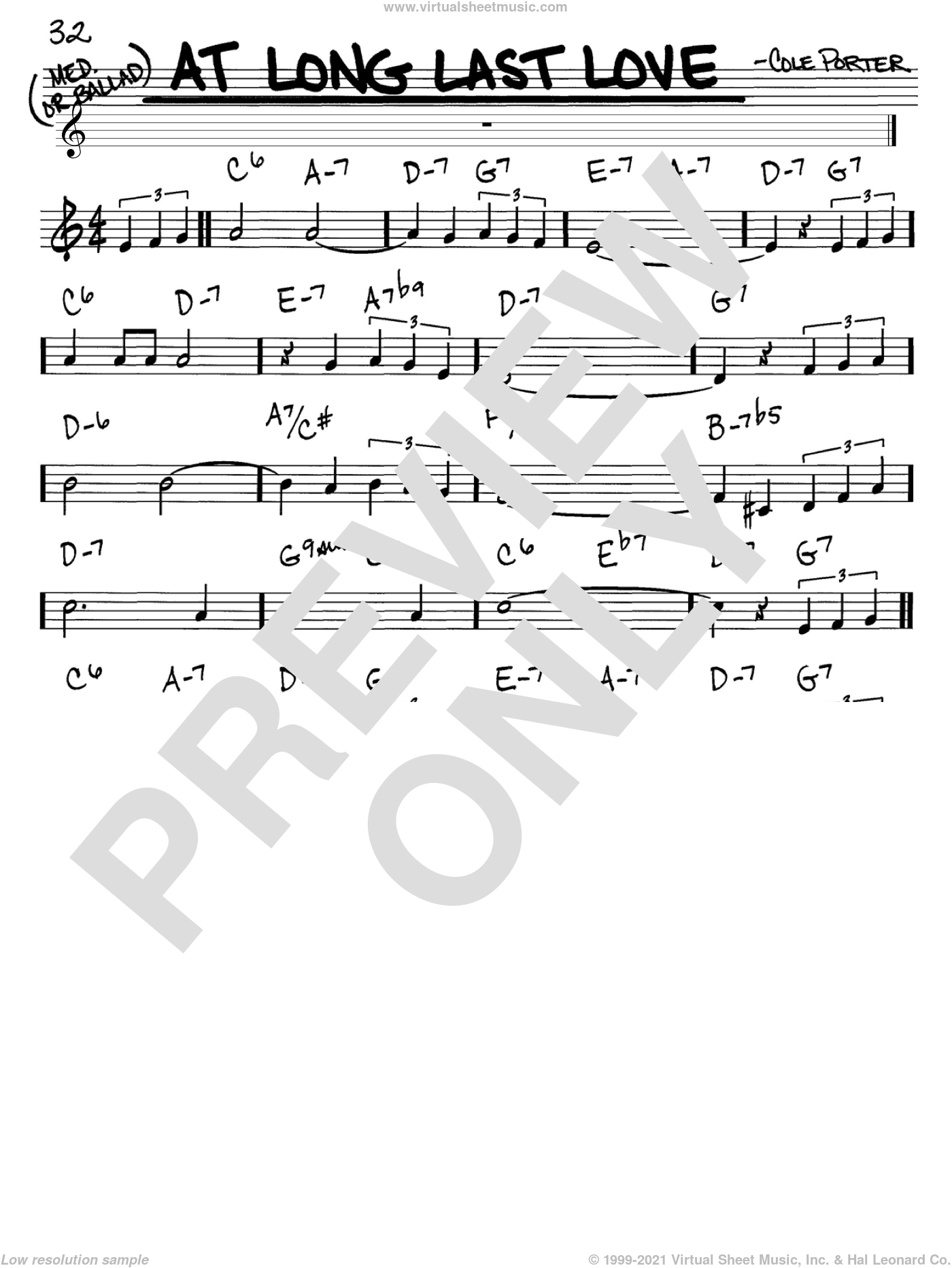 At Long Last Love sheet music for voice and other instruments (in C) by Cole Porter, intermediate. Score Image Preview.