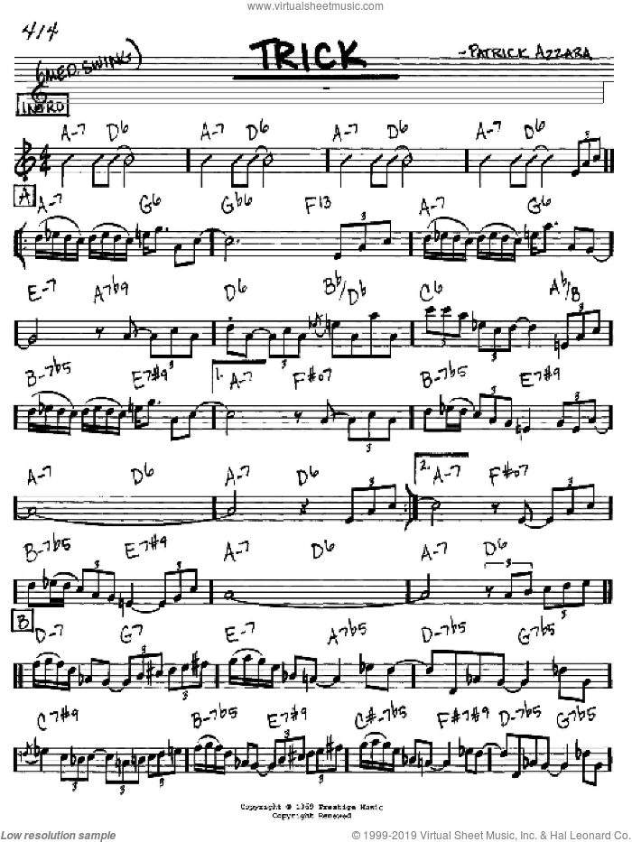 Trick sheet music for voice and other instruments (C) by Patrick Azzara