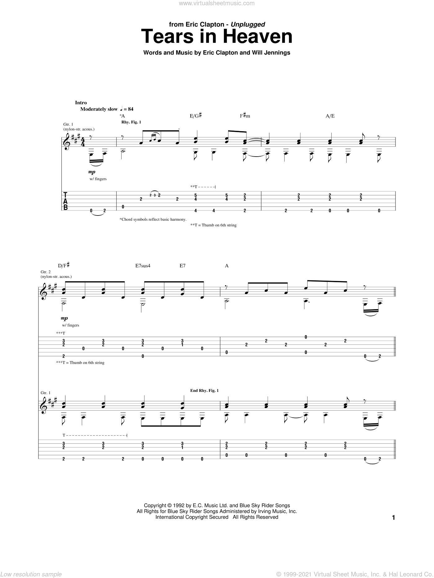 Clapton - Tears In Heaven sheet music for guitar (tablature)