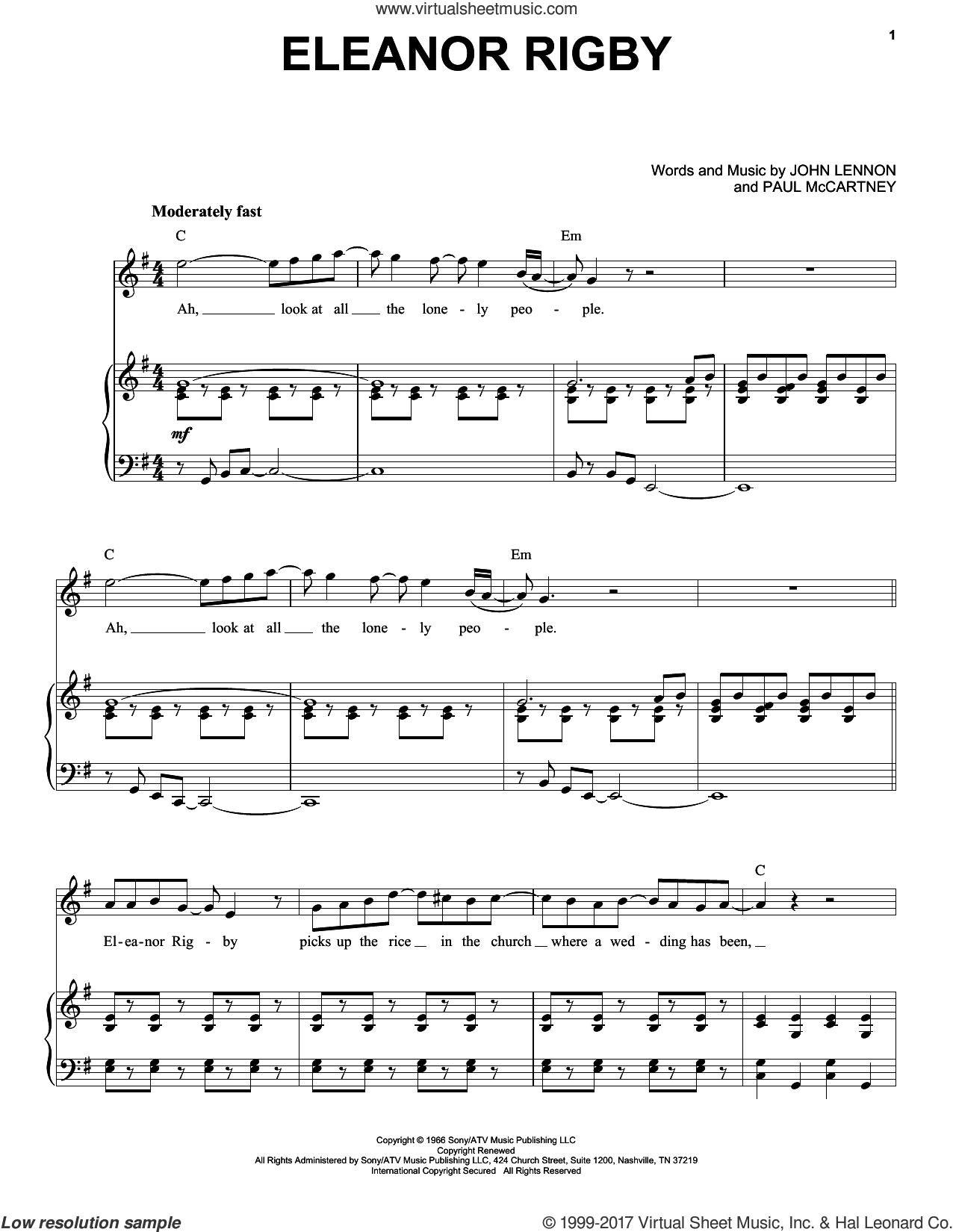Eleanor Rigby sheet music for voice and piano by Paul McCartney, The Beatles and John Lennon. Score Image Preview.