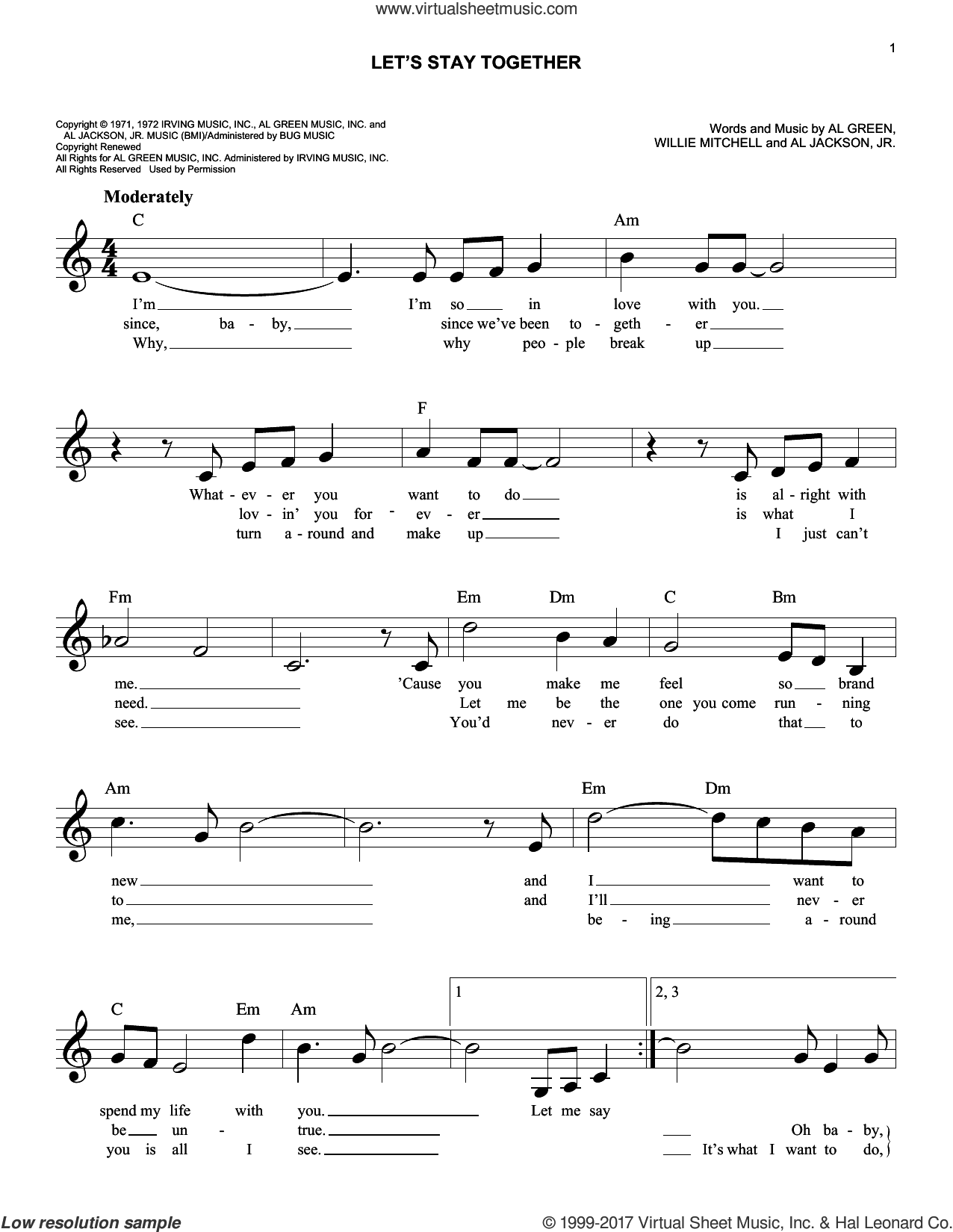 Green - Let's Stay Together sheet music (fake book) [PDF]