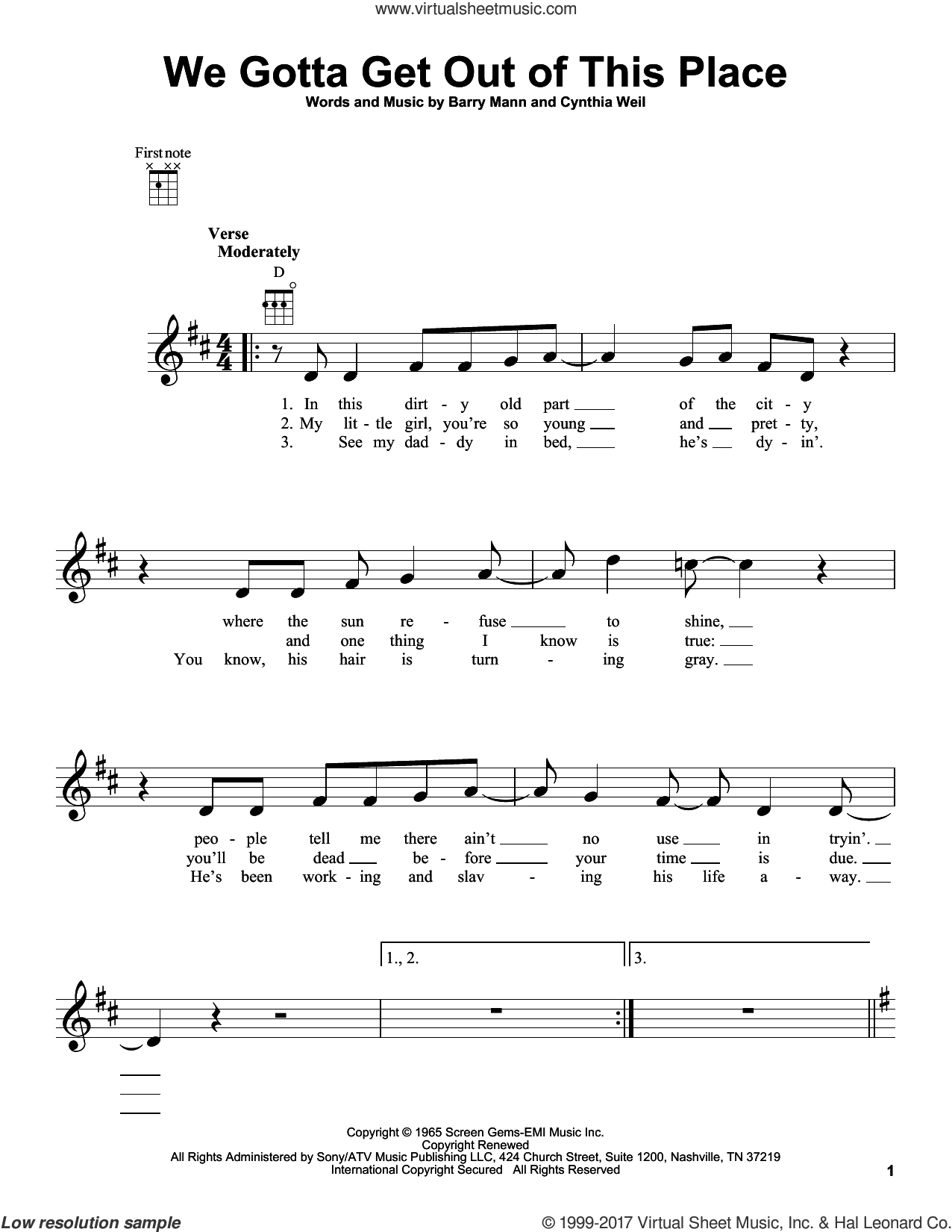 We Gotta Get Out Of This Place sheet music for ukulele by Carole King, Barry Mann and Cynthia Weil. Score Image Preview.