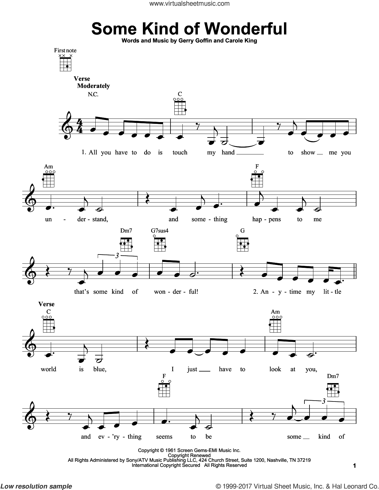 Some Kind Of Wonderful sheet music for ukulele by Carole King, intermediate. Score Image Preview.