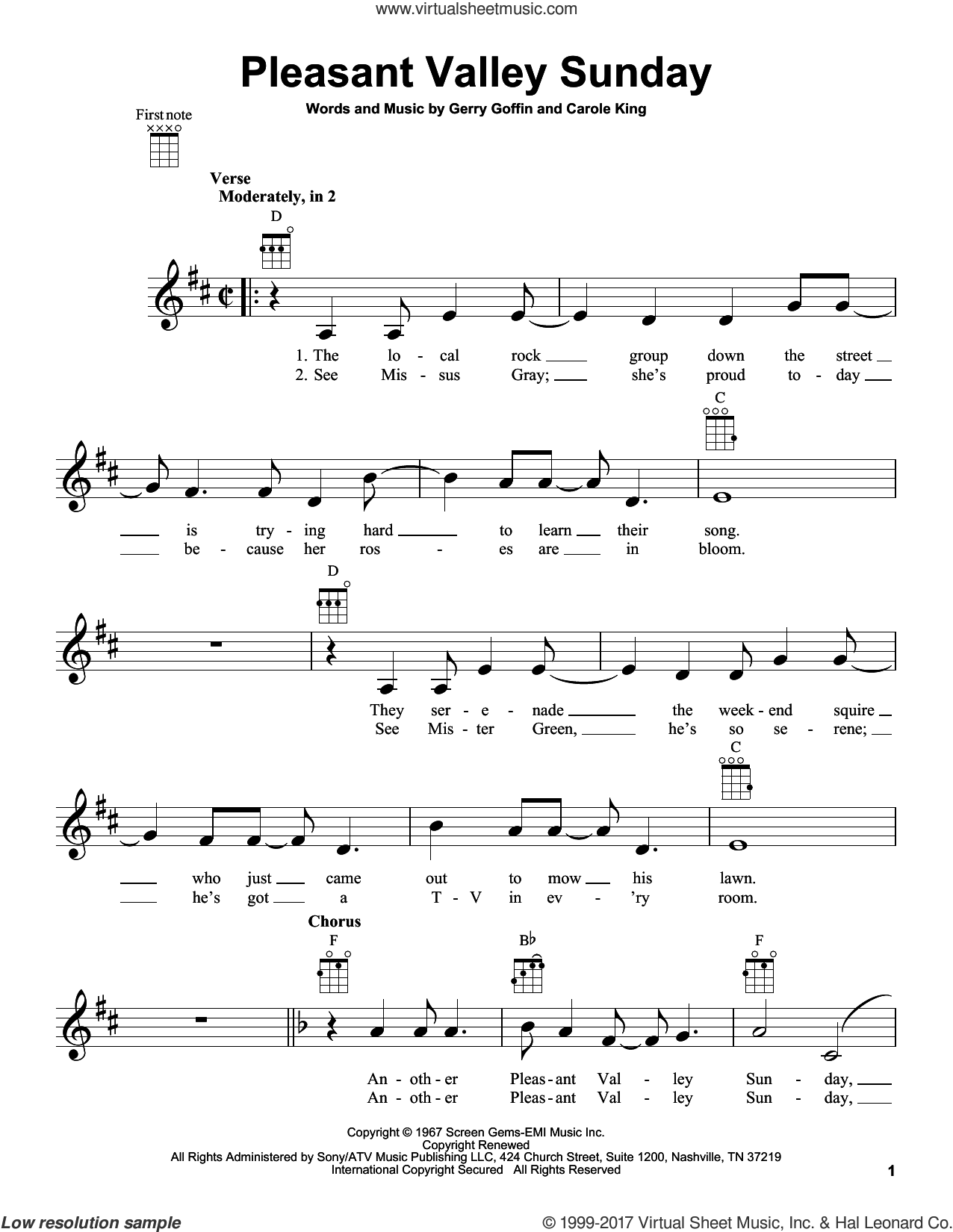 Pleasant Valley Sunday sheet music for ukulele by Carole King and Gerry Goffin, intermediate skill level