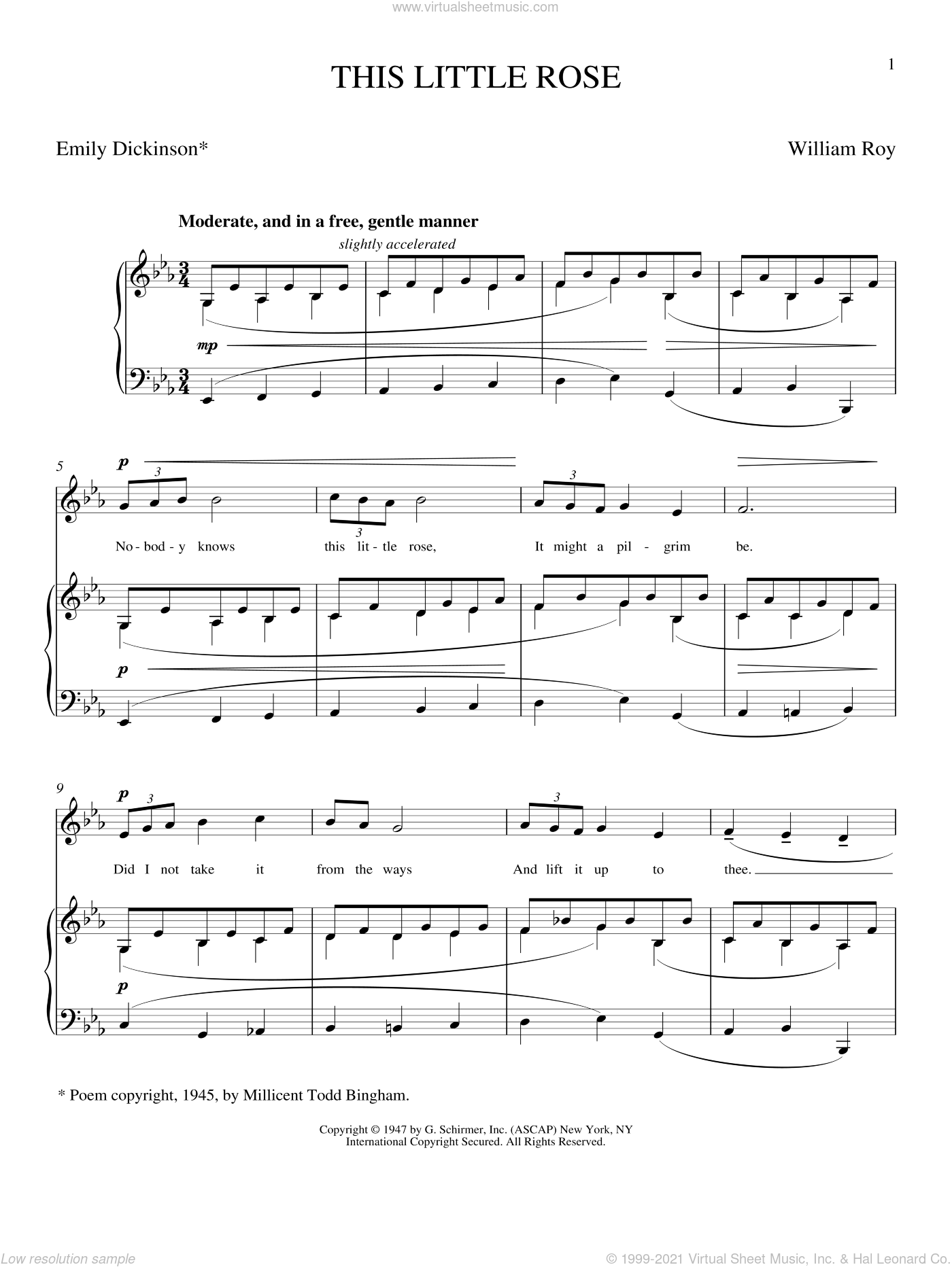 This Little Rose sheet music for voice and piano (Soprano) by Emily Dickinson and Joan Frey Boytim, classical score, intermediate voice. Score Image Preview.