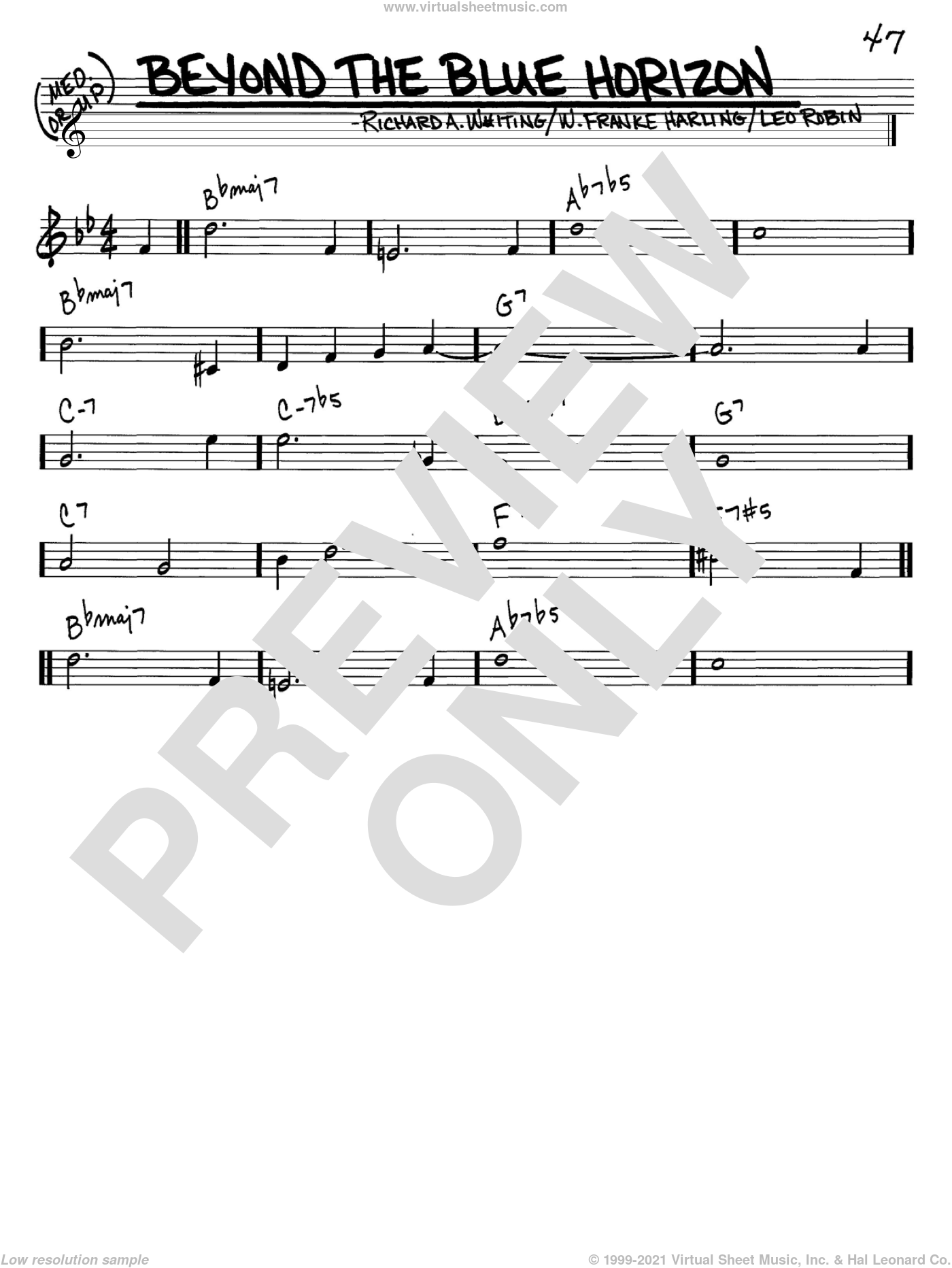 Beyond The Blue Horizon sheet music for voice and other instruments (C) by W. Franke Harling