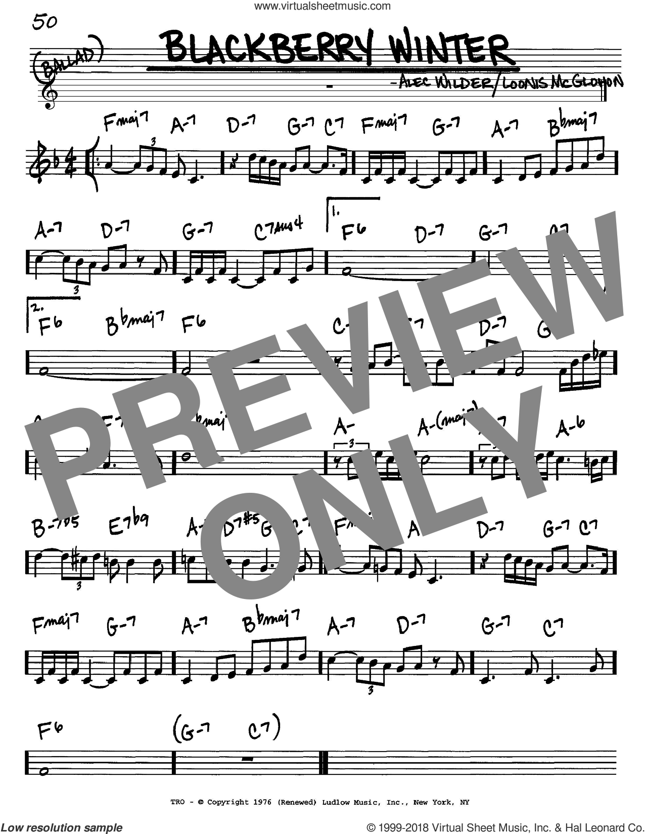 Blackberry Winter sheet music for voice and other instruments (C) by Loonis McGlohon