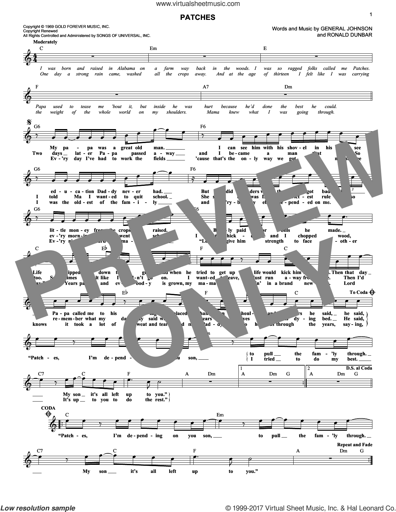 Patches sheet music for voice and other instruments (fake book) by Clarence Carter. Score Image Preview.