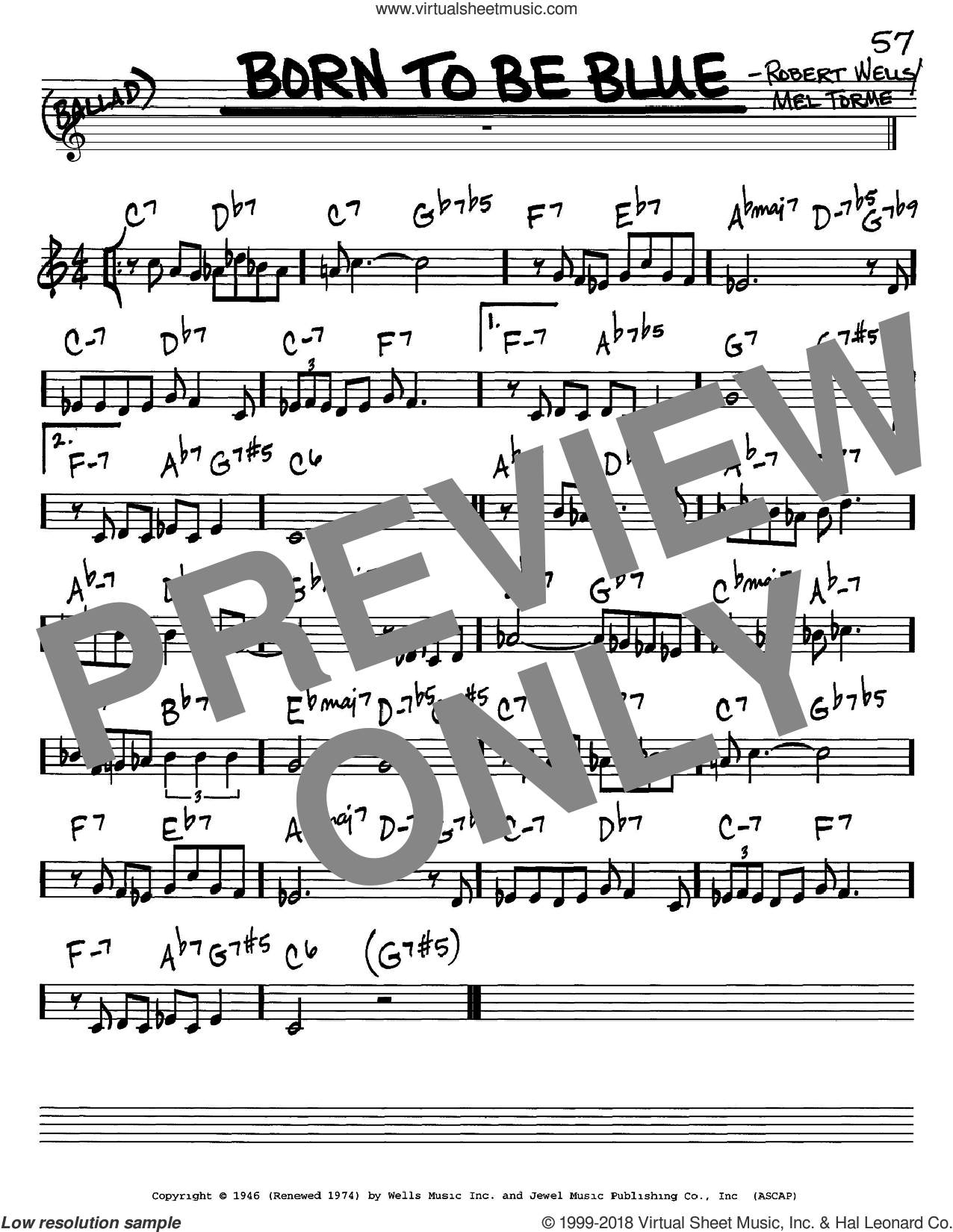 Born To Be Blue sheet music for voice and other instruments (in C) by Mel Torme and Robert Wells, intermediate skill level