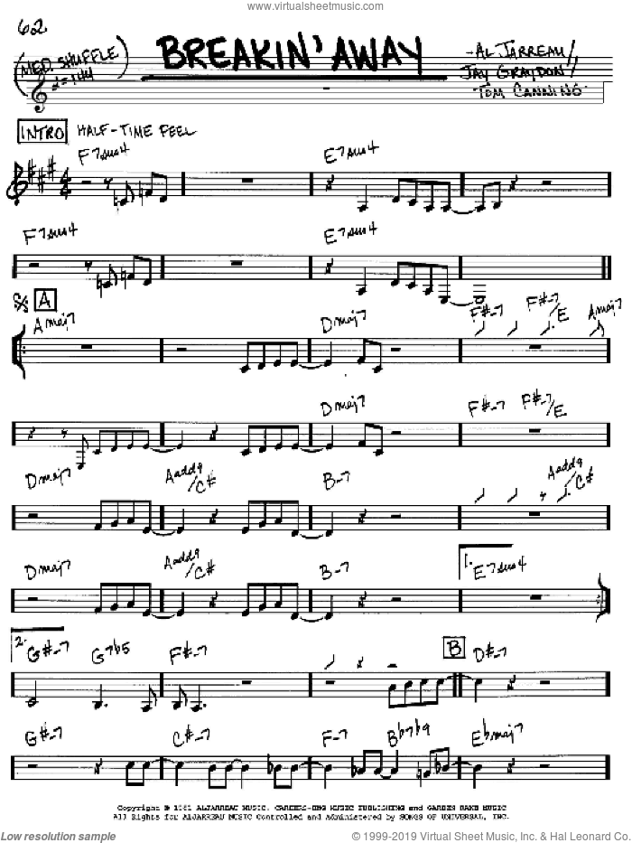 Breakin' Away sheet music for voice and other instruments (in C) by Al Jarreau, Jay Graydon and Tom Canning, intermediate skill level