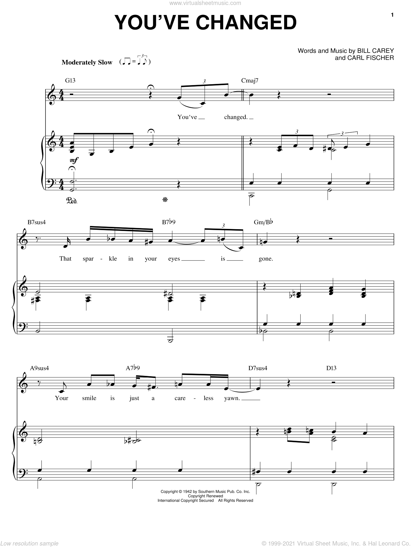 You've Changed sheet music for voice and piano by Connie Russell, Bill Carey and Carl Fischer, intermediate skill level