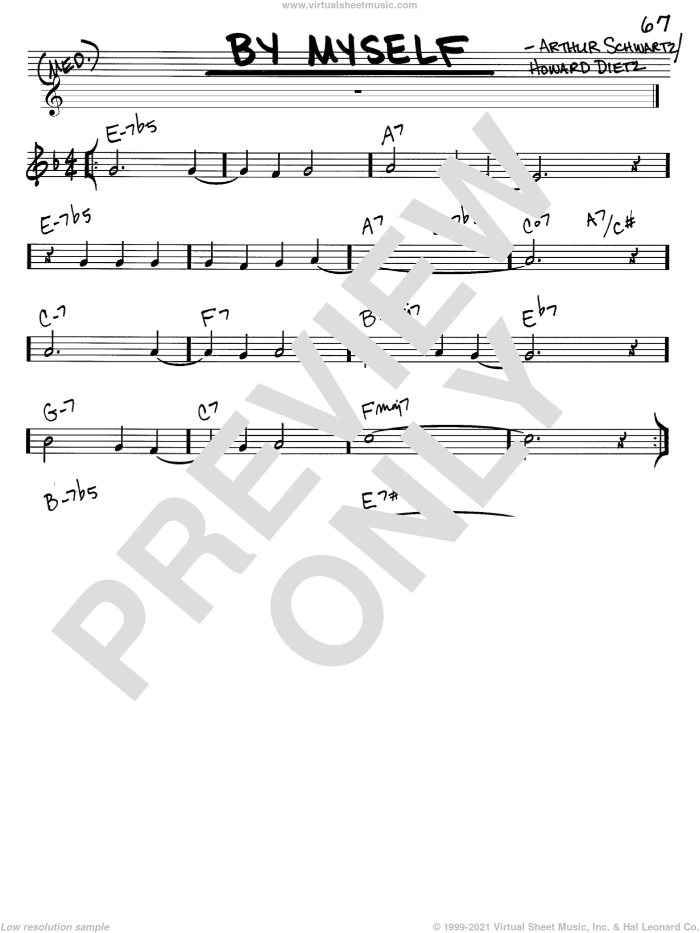 By Myself sheet music for voice and other instruments (C) by Arthur Schwartz and Howard Dietz. Score Image Preview.