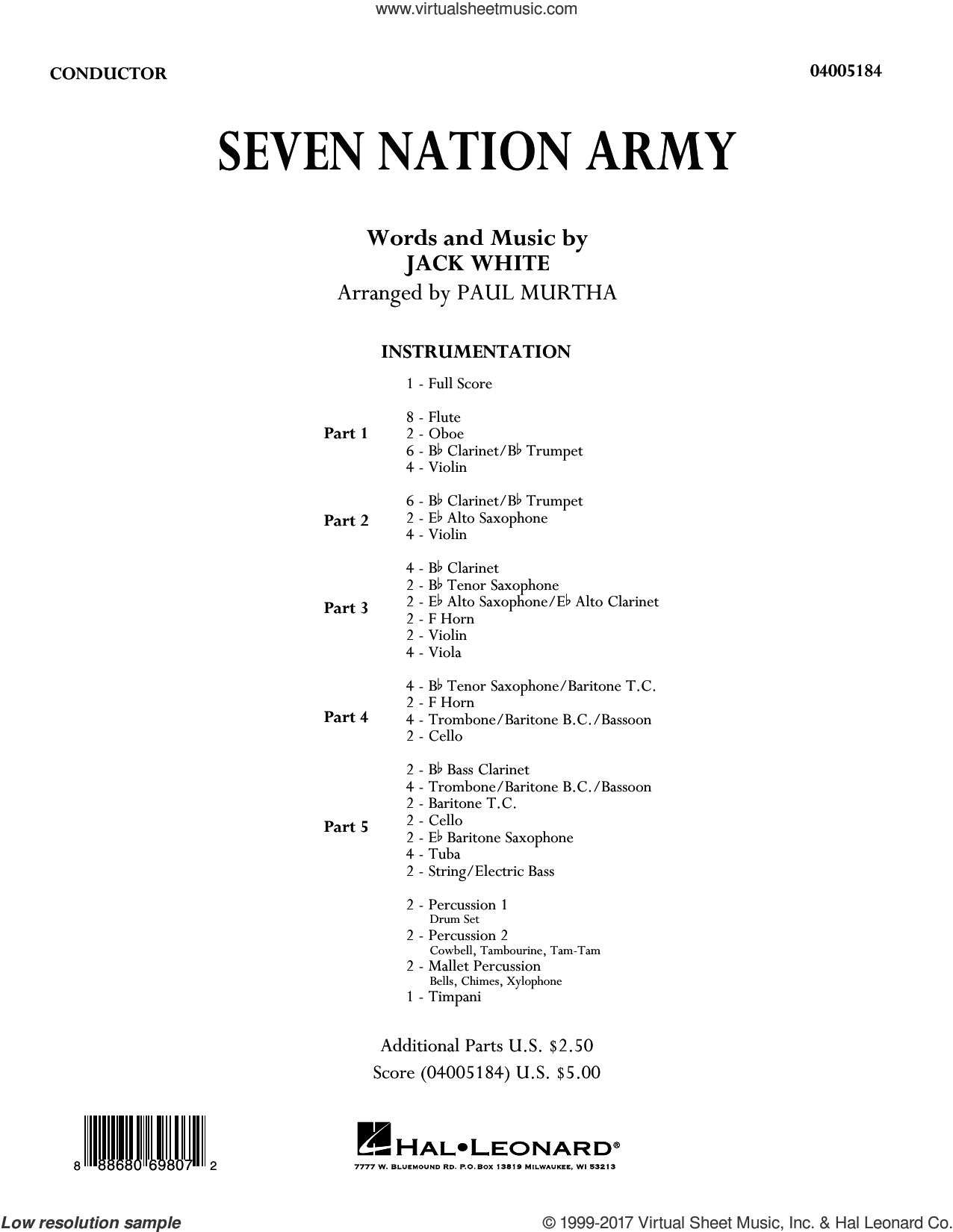Seven Nation Army (COMPLETE) sheet music for concert band by Paul Murtha, Jack White and White Stripes, intermediate skill level
