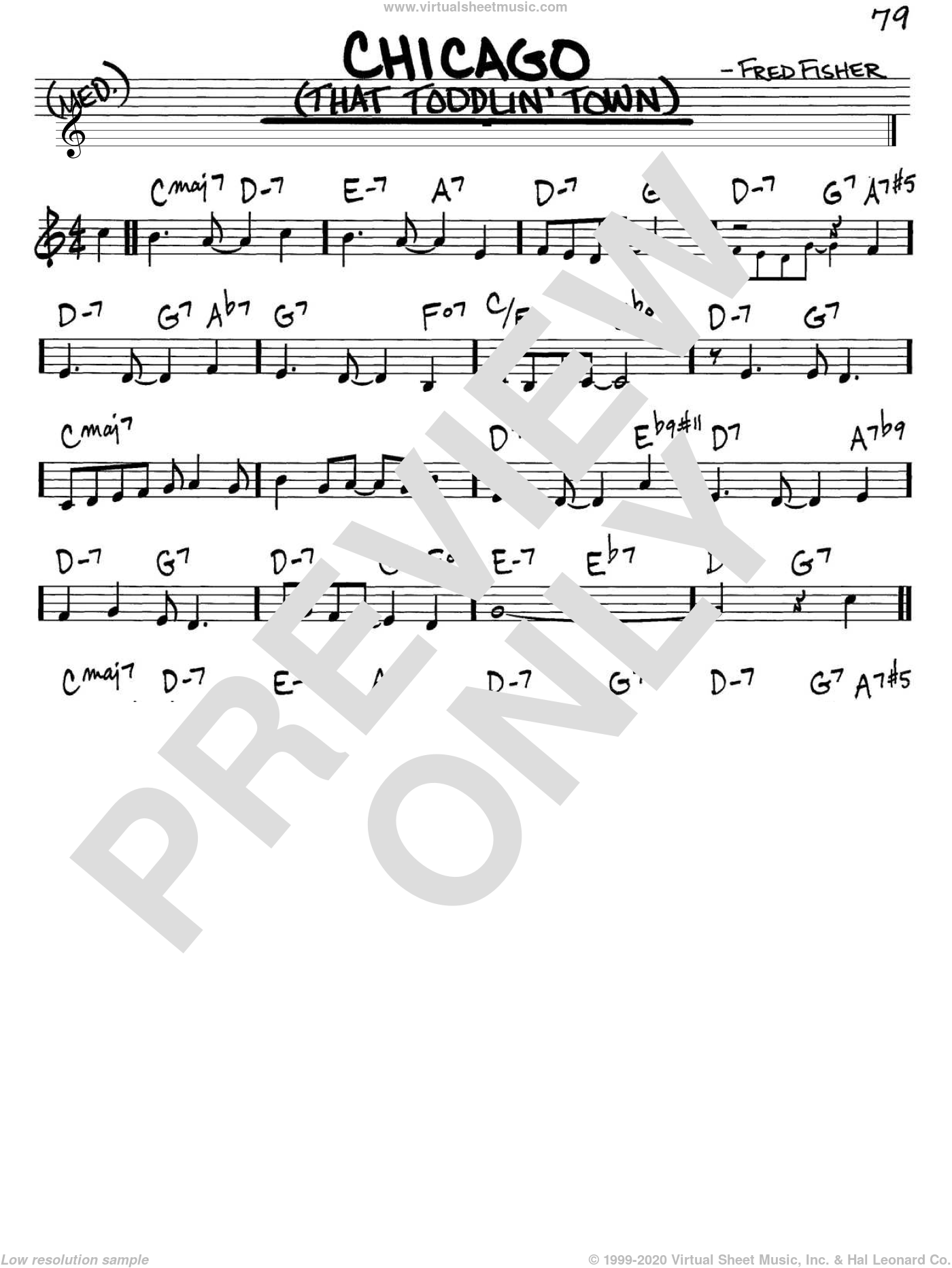 Chicago (That Toddlin' Town) sheet music for voice and other instruments (C) by Fred Fisher and Frank Sinatra. Score Image Preview.