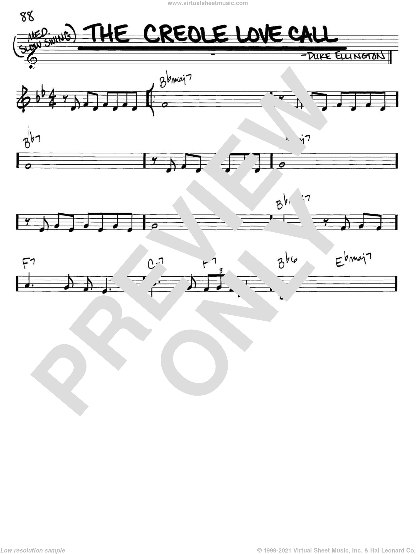The Creole Love Call sheet music for voice and other instruments (C) by Duke Ellington and Billy Strayhorn. Score Image Preview.