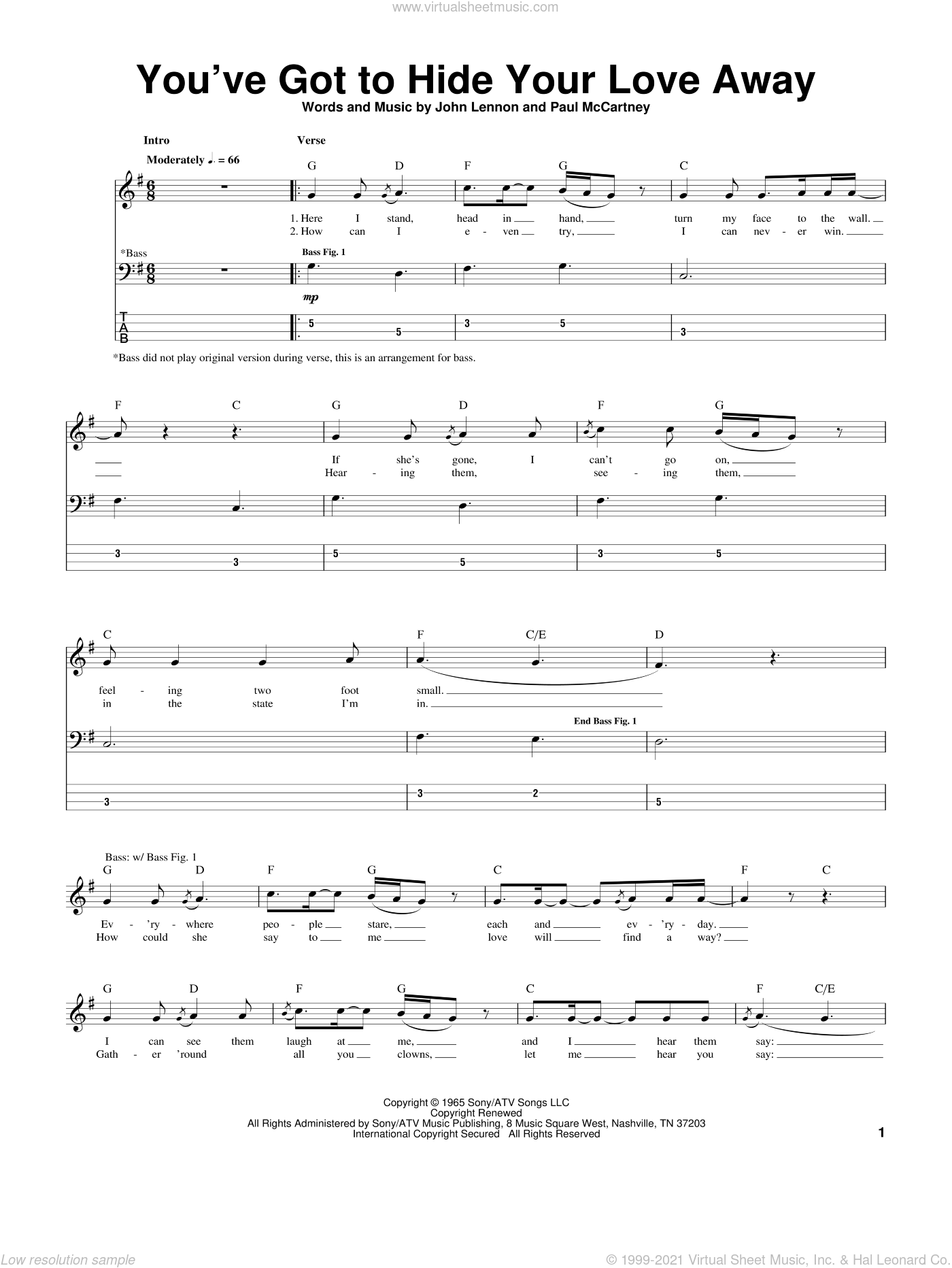 You've Got To Hide Your Love Away sheet music for bass (tablature) (bass guitar) by Paul McCartney, The Beatles and John Lennon. Score Image Preview.
