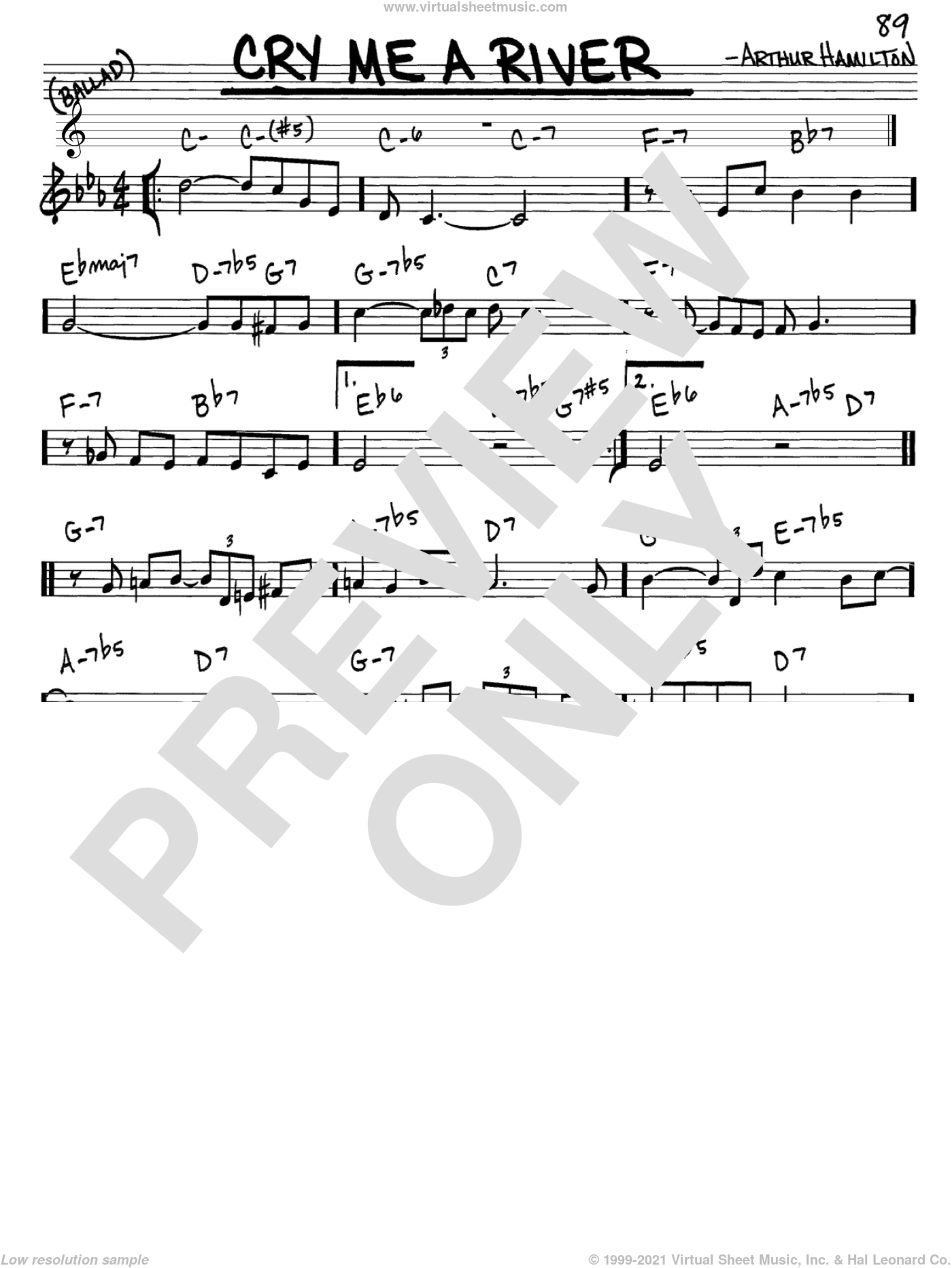 Cry Me A River sheet music for voice and other instruments (C) by Arthur Hamilton