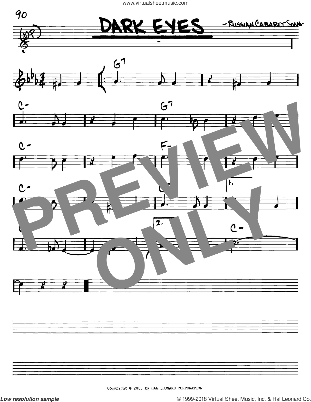 Dark Eyes sheet music (real book - melody and chords) (in C)