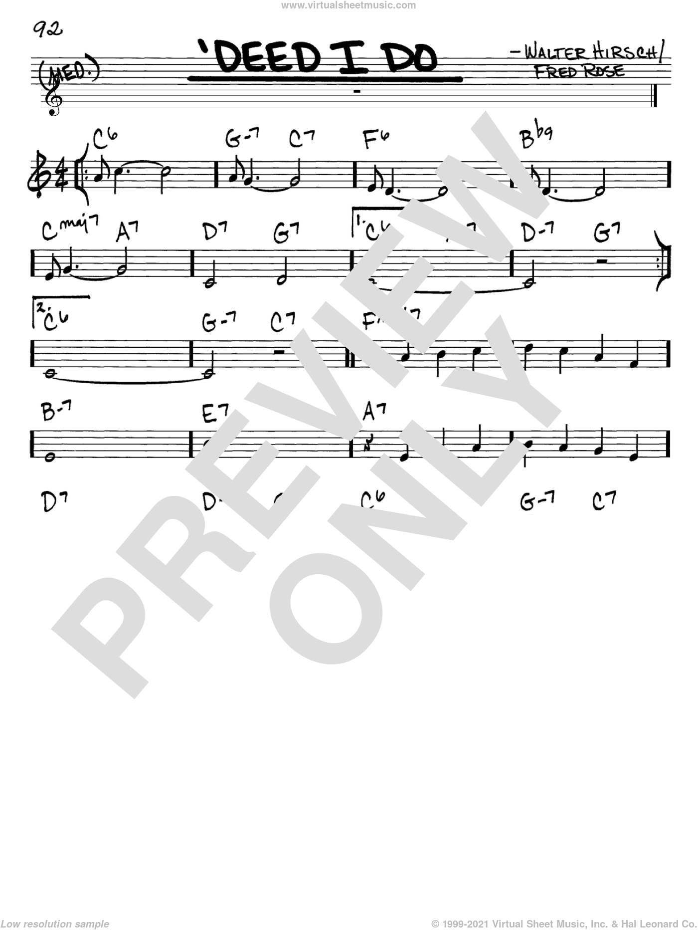 'Deed I Do sheet music for voice and other instruments (C) by Walter Hirsch, Diana Krall and Fred Rose, intermediate voice. Score Image Preview.